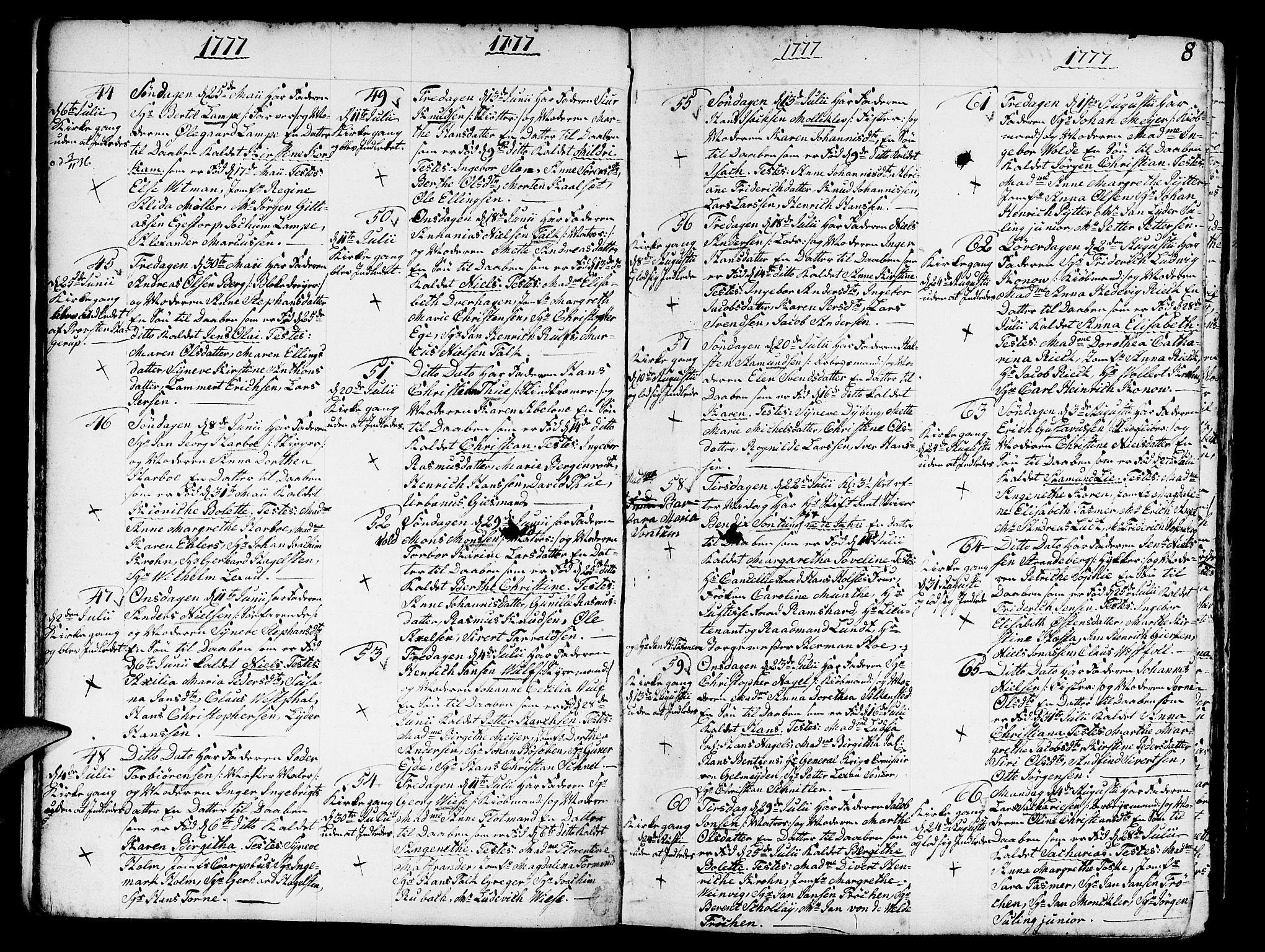 SAB, Nykirken Sokneprestembete, H/Haa: Ministerialbok nr. A 5, 1775-1808, s. 8