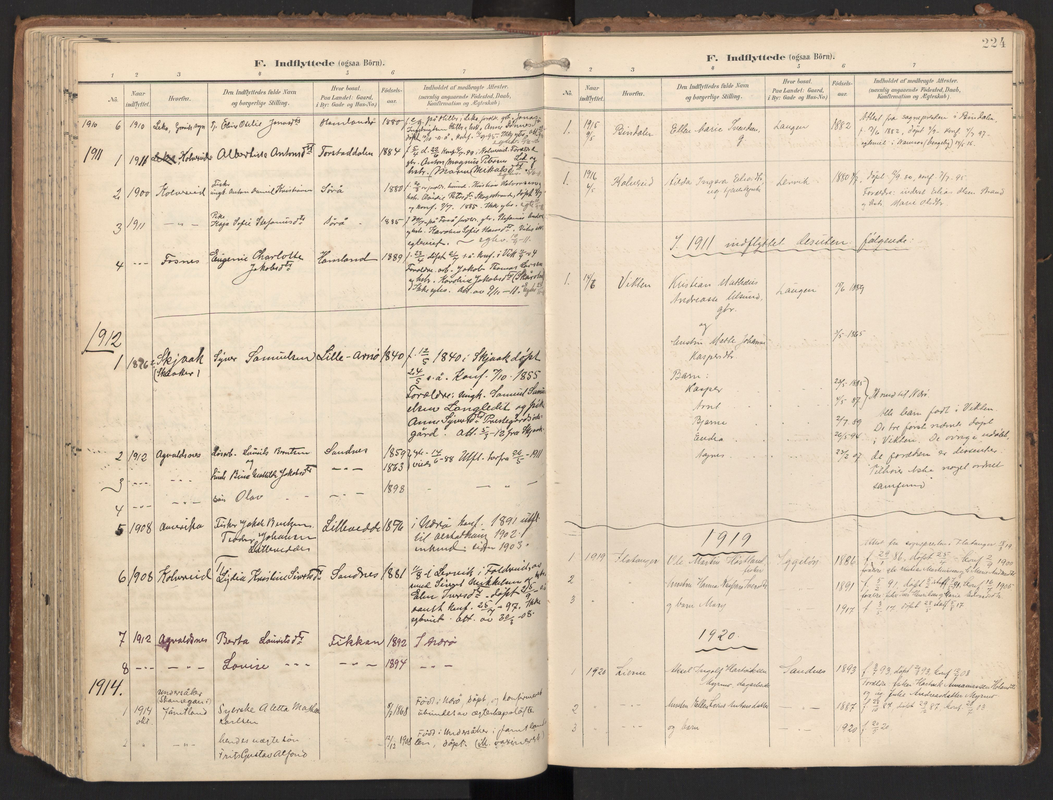 SAT, Ministerialprotokoller, klokkerbøker og fødselsregistre - Nord-Trøndelag, 784/L0677: Ministerialbok nr. 784A12, 1900-1920, s. 224