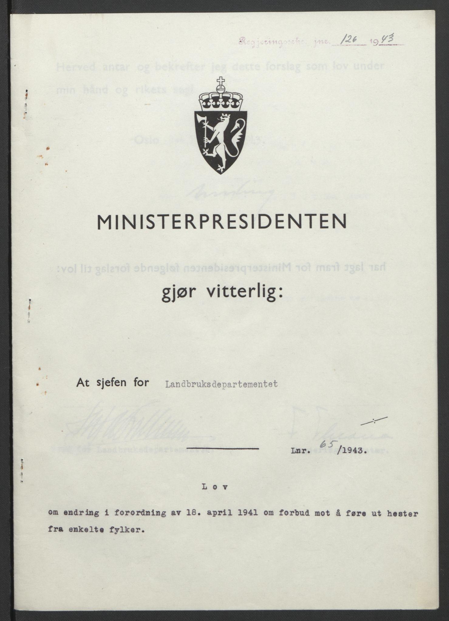 RA, NS-administrasjonen 1940-1945 (Statsrådsekretariatet, de kommisariske statsråder mm), D/Db/L0099: Lover, 1943, s. 300
