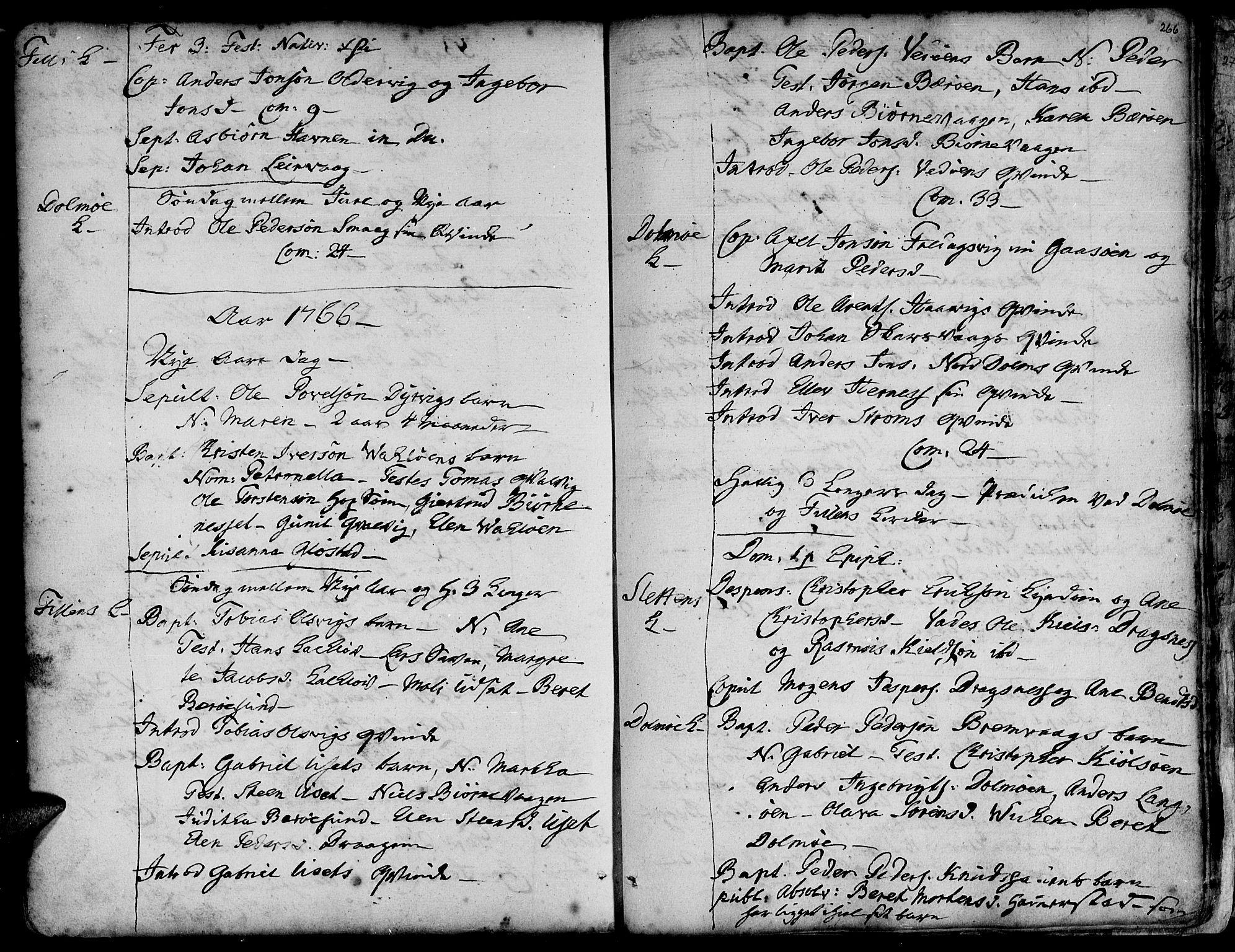 SAT, Ministerialprotokoller, klokkerbøker og fødselsregistre - Sør-Trøndelag, 634/L0525: Ministerialbok nr. 634A01, 1736-1775, s. 266