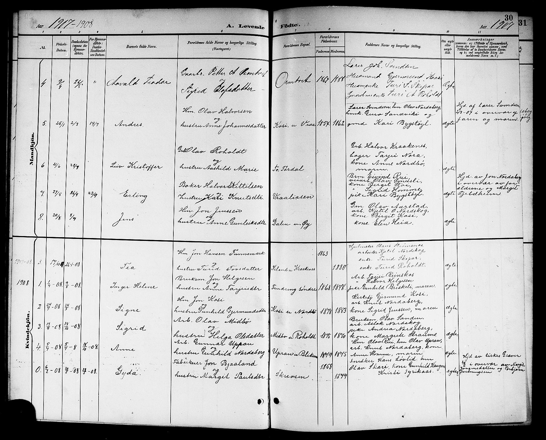 SAKO, Kviteseid kirkebøker, G/Gc/L0001: Klokkerbok nr. III 1, 1893-1916, s. 30