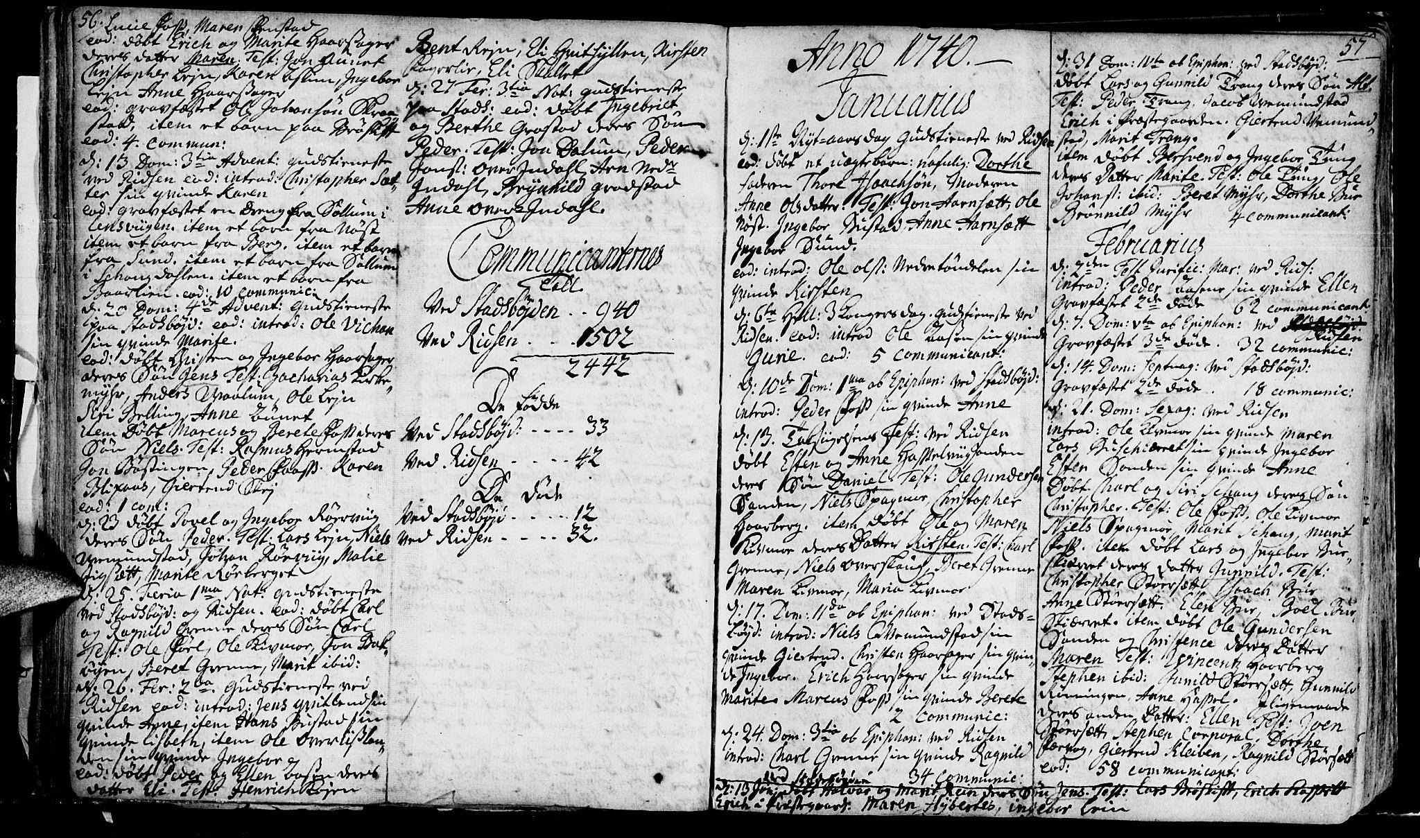 SAT, Ministerialprotokoller, klokkerbøker og fødselsregistre - Sør-Trøndelag, 646/L0604: Ministerialbok nr. 646A02, 1735-1750, s. 56-57