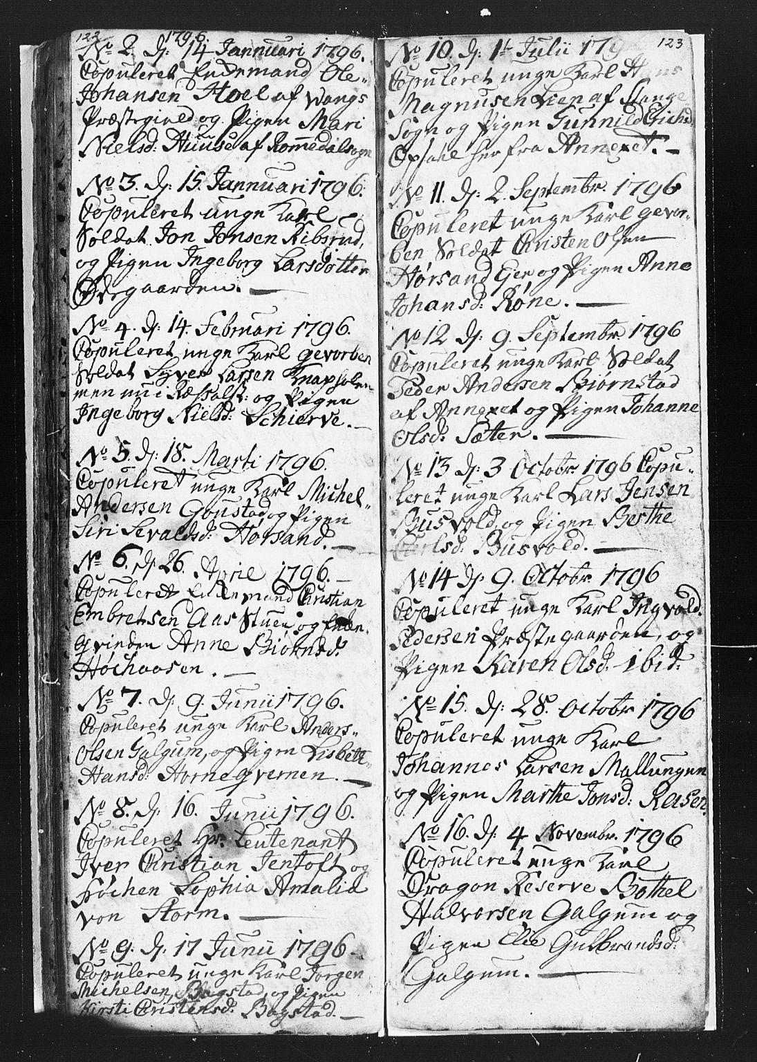 SAH, Romedal prestekontor, L/L0002: Klokkerbok nr. 2, 1795-1800, s. 122-123