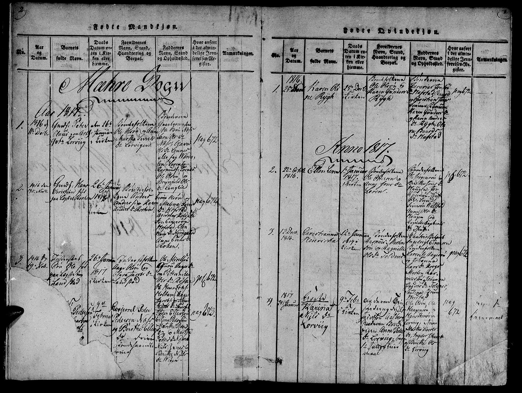 SAT, Ministerialprotokoller, klokkerbøker og fødselsregistre - Nord-Trøndelag, 735/L0333: Ministerialbok nr. 735A04 /1, 1816-1824, s. 2-3