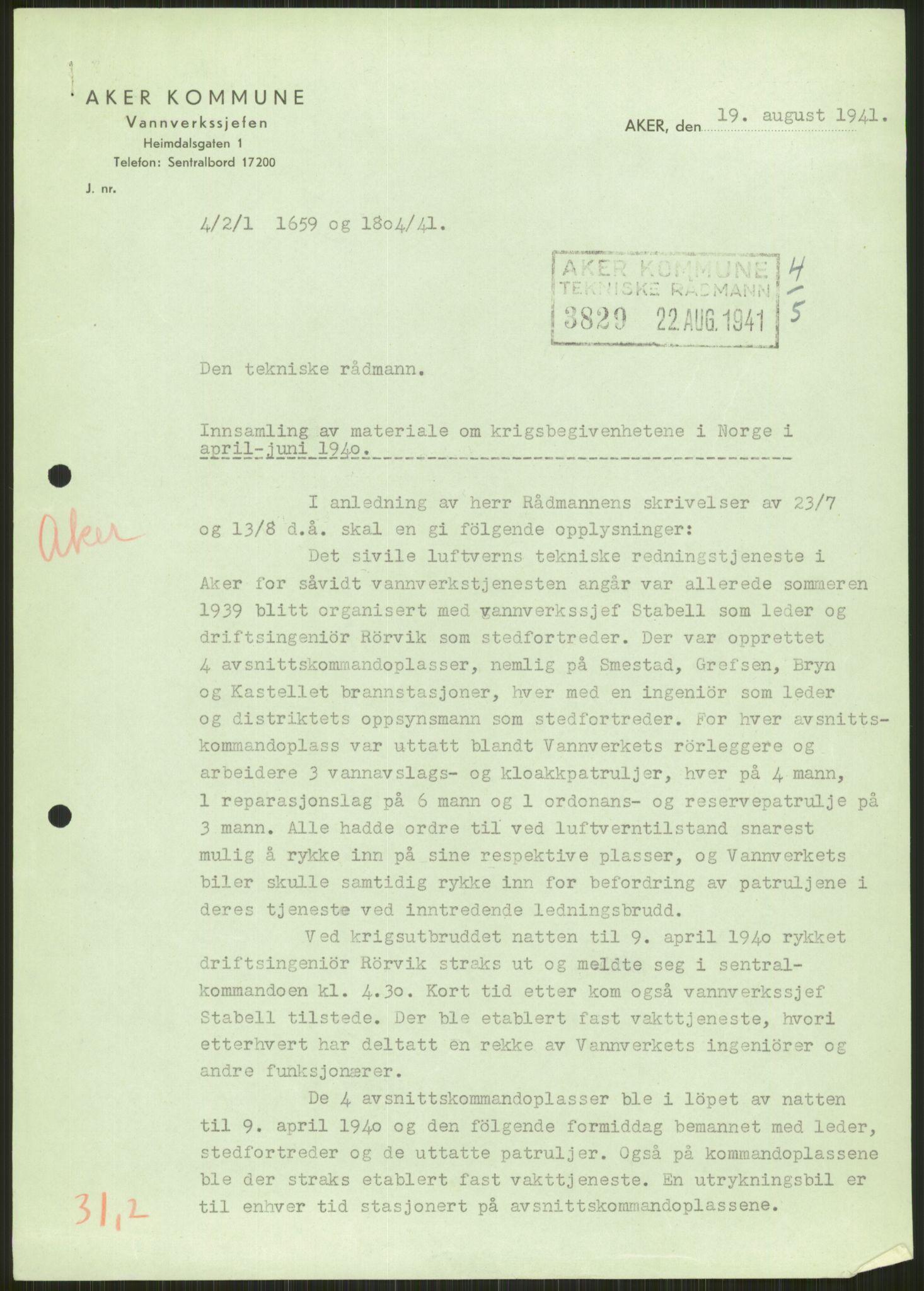 RA, Forsvaret, Forsvarets krigshistoriske avdeling, Y/Ya/L0013: II-C-11-31 - Fylkesmenn.  Rapporter om krigsbegivenhetene 1940., 1940, s. 283