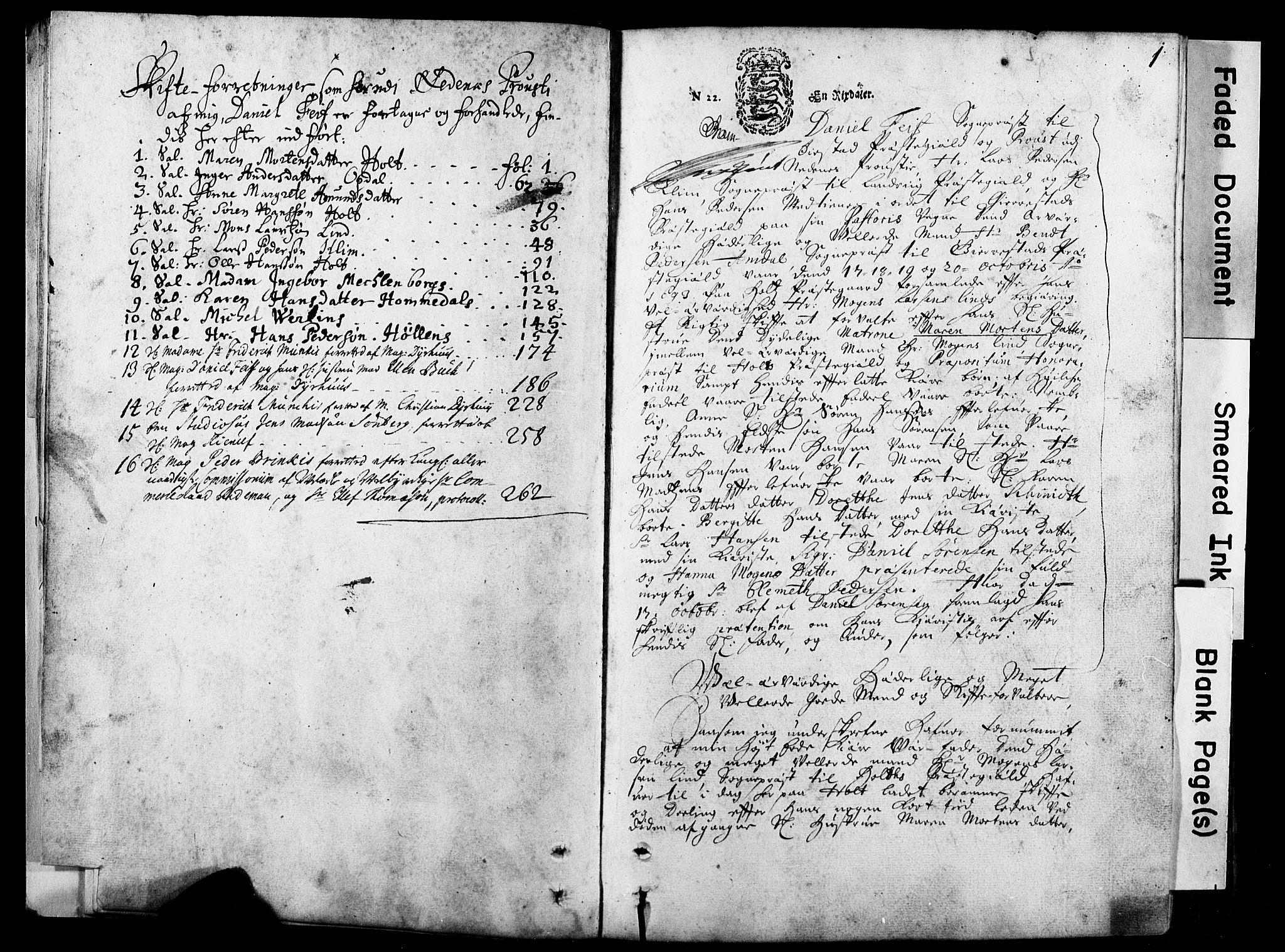 SAK, Nedenes prosti, K/Kb/L0001: A-IV-1 - Skifteprotokoll, 1693-1740, s. 0b-1a