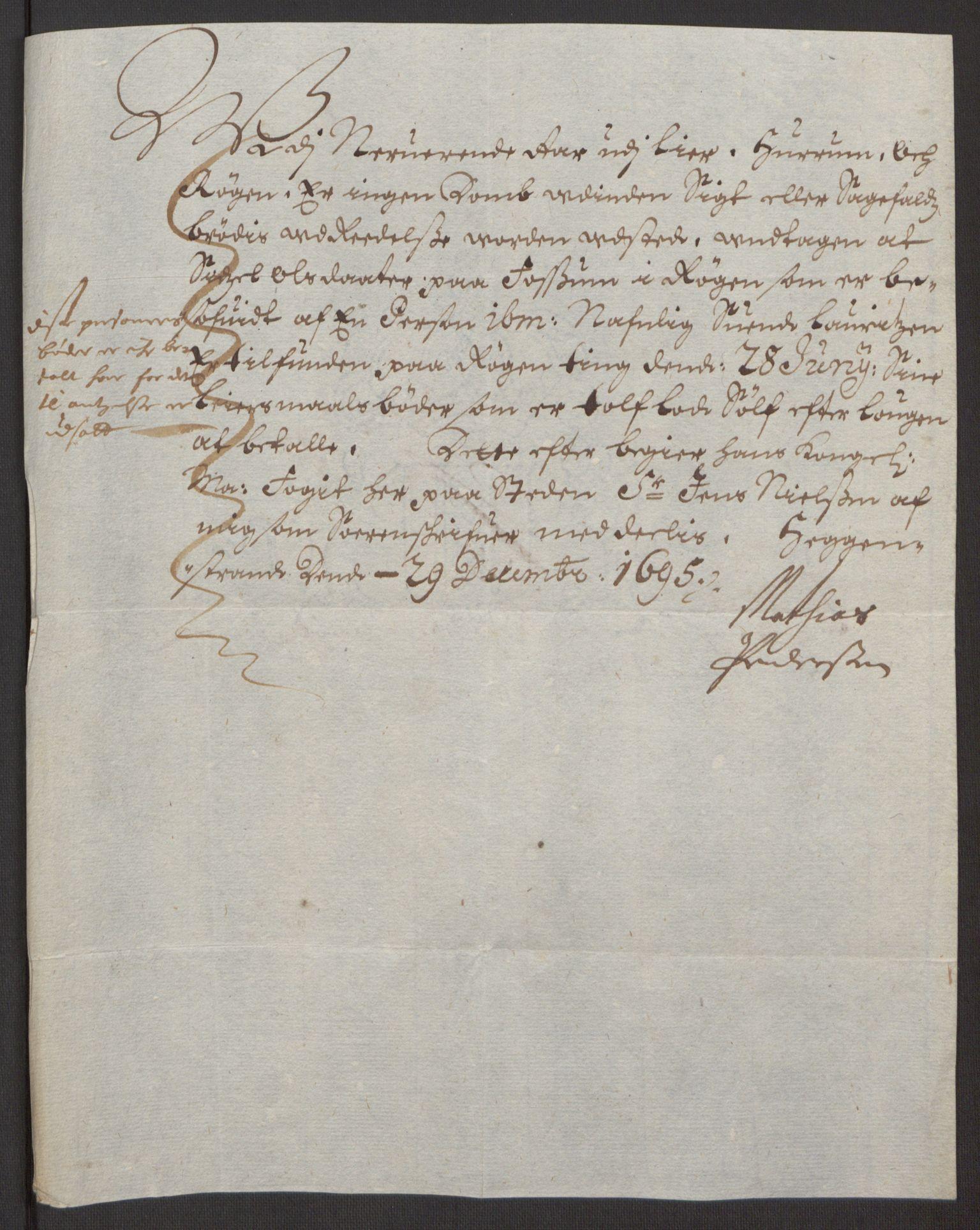 RA, Rentekammeret inntil 1814, Reviderte regnskaper, Fogderegnskap, R30/L1694: Fogderegnskap Hurum, Røyken, Eiker og Lier, 1694-1696, s. 167