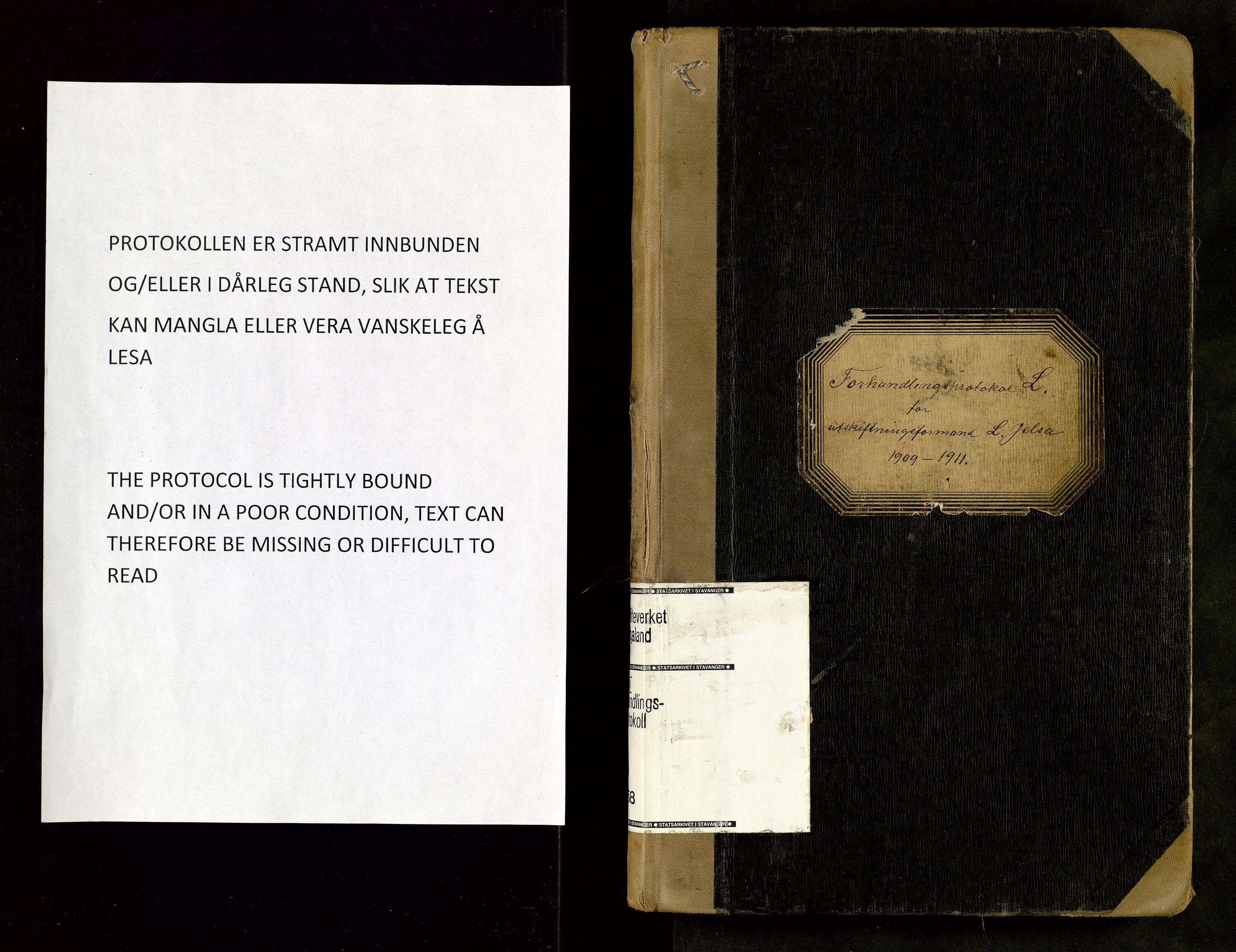 SAST, Rogaland jordskifterett, Oa/L0068: Forhandlingsprotokoll, 1909-1911