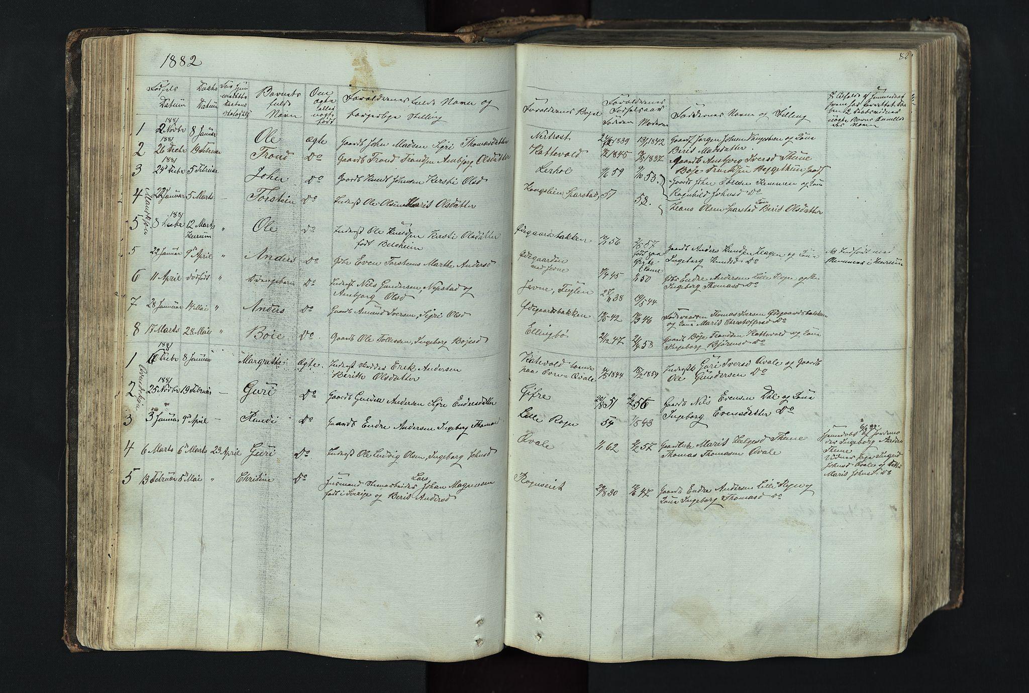 SAH, Vang prestekontor, Valdres, Klokkerbok nr. 4, 1835-1892, s. 82