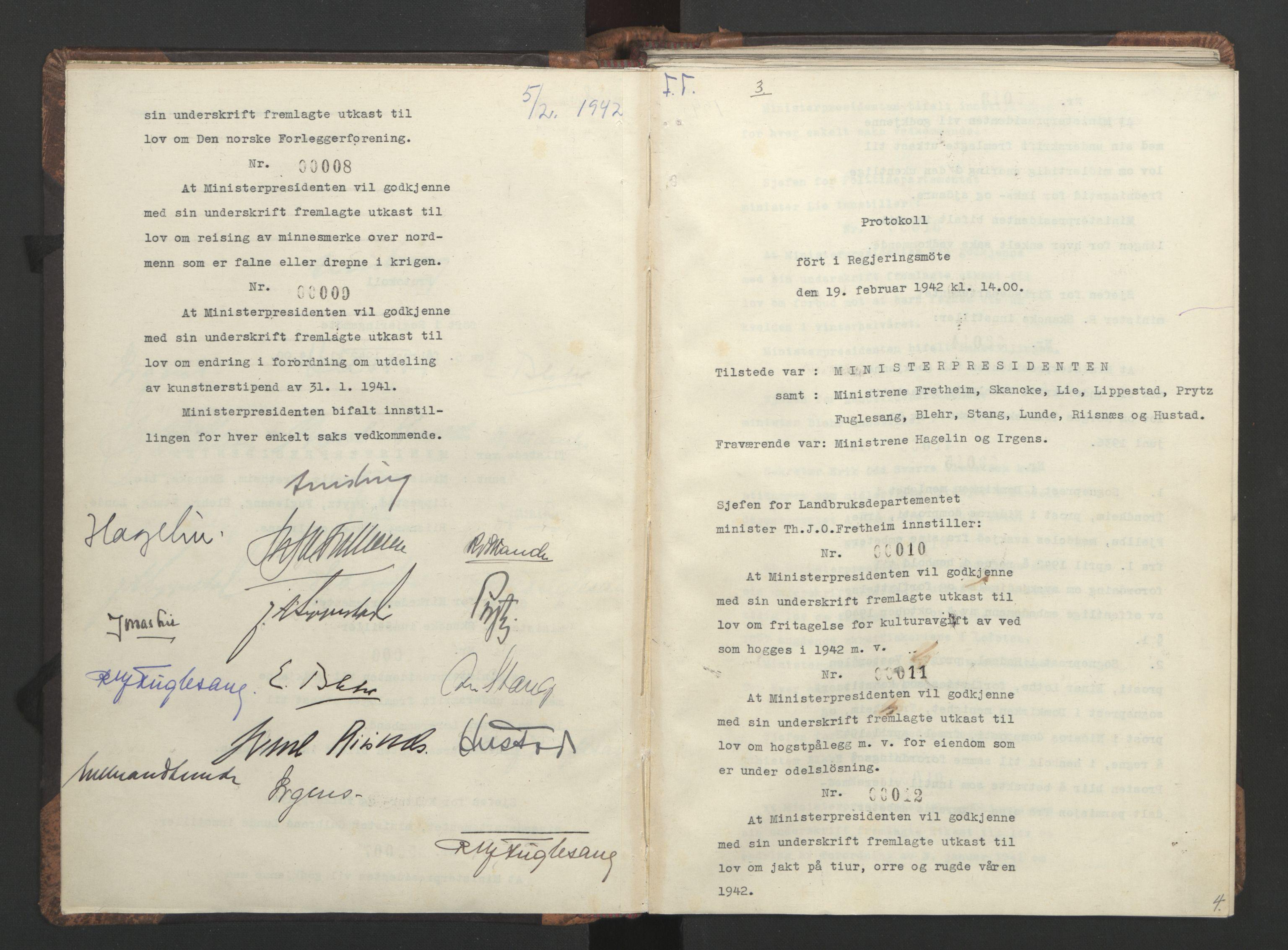 RA, NS-administrasjonen 1940-1945 (Statsrådsekretariatet, de kommisariske statsråder mm), D/Da/L0001: Beslutninger og tillegg (1-952 og 1-32), 1942, s. 3b-4a