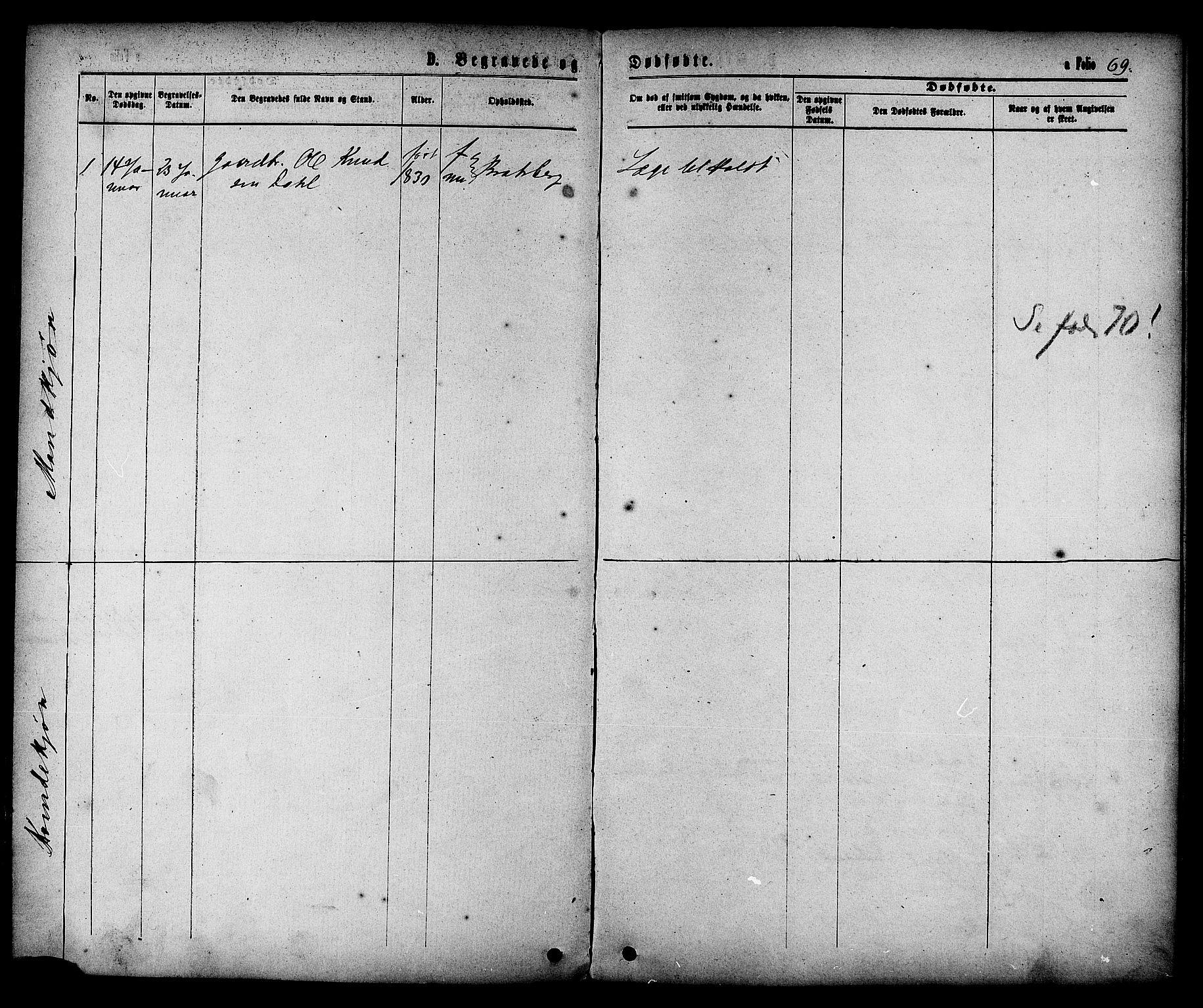 SAT, Ministerialprotokoller, klokkerbøker og fødselsregistre - Sør-Trøndelag, 608/L0334: Ministerialbok nr. 608A03, 1877-1886, s. 69