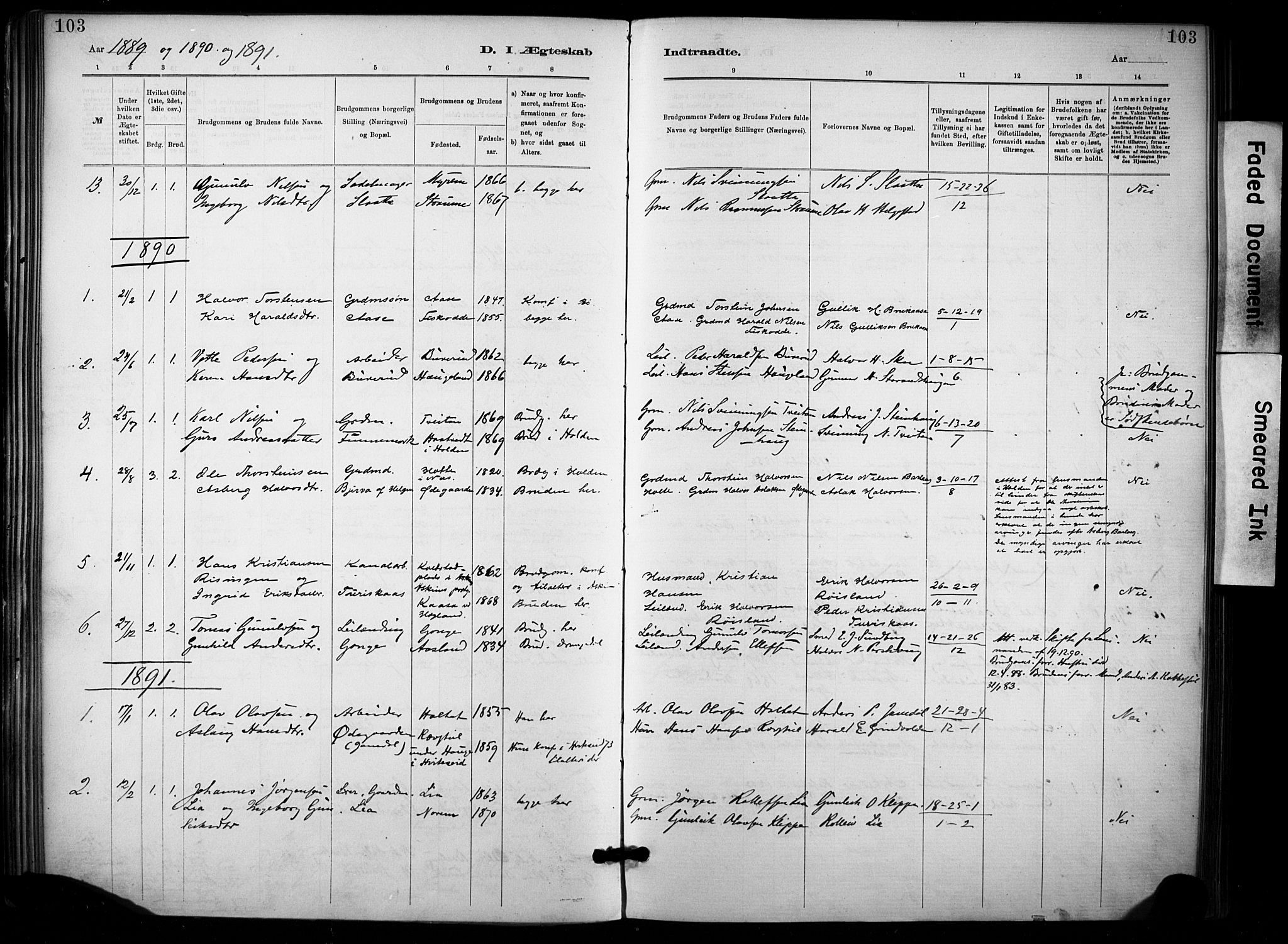 SAKO, Lunde kirkebøker, F/Fa/L0002: Ministerialbok nr. I 2, 1884-1892, s. 103