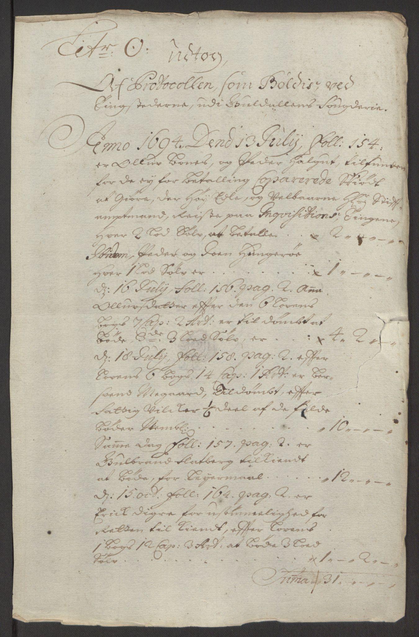 RA, Rentekammeret inntil 1814, Reviderte regnskaper, Fogderegnskap, R60/L3944: Fogderegnskap Orkdal og Gauldal, 1694, s. 410
