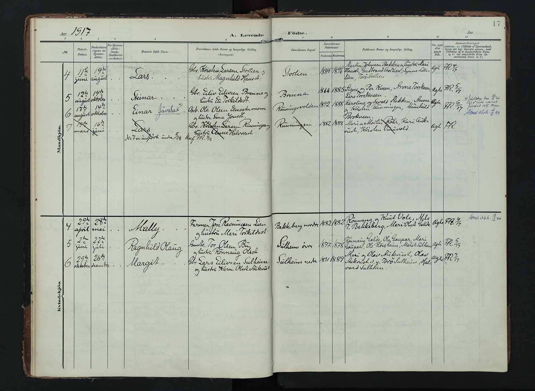SAH, Lom prestekontor, K/L0012: Ministerialbok nr. 12, 1904-1928, s. 17