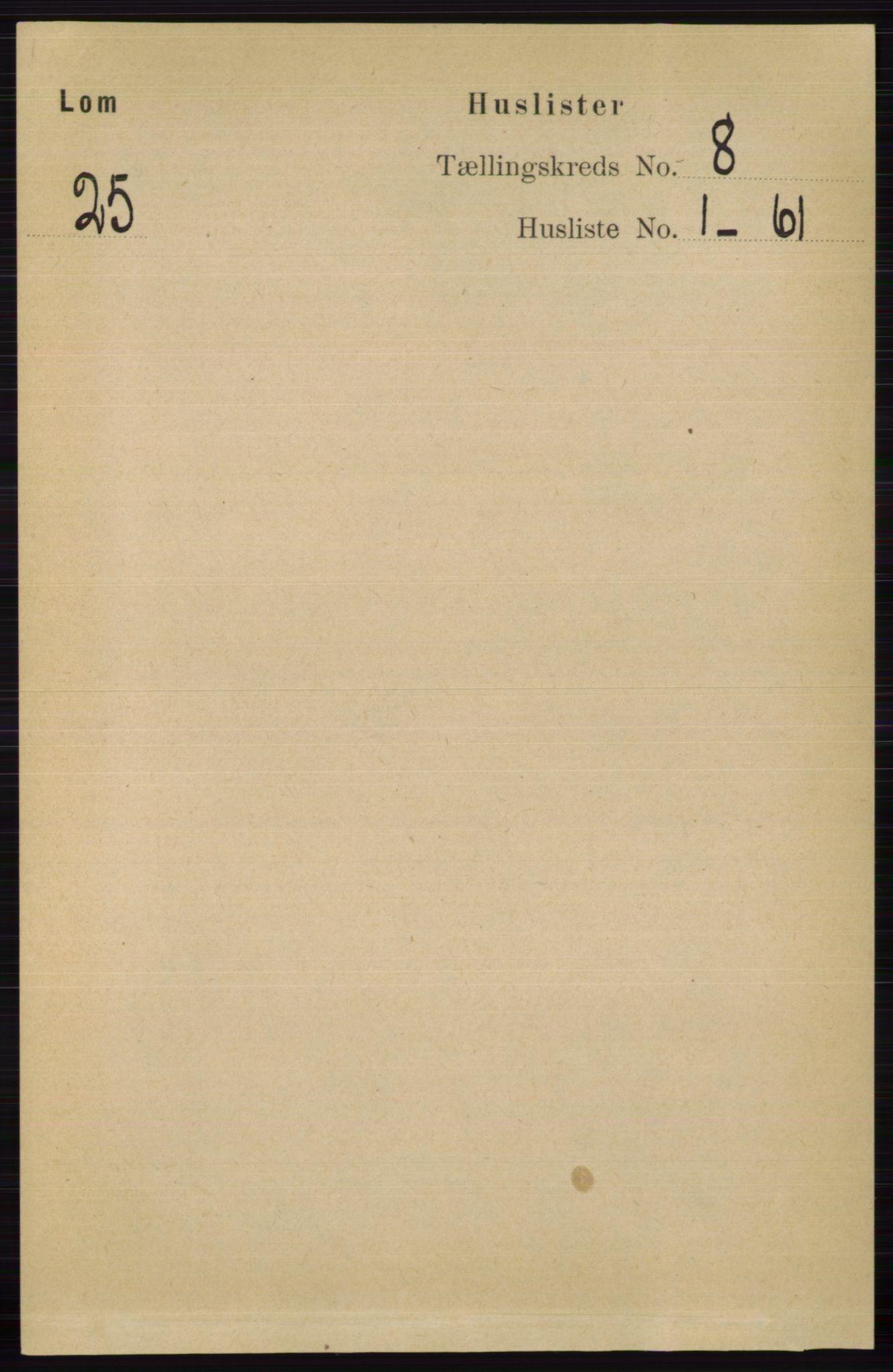 RA, Folketelling 1891 for 0514 Lom herred, 1891, s. 3042