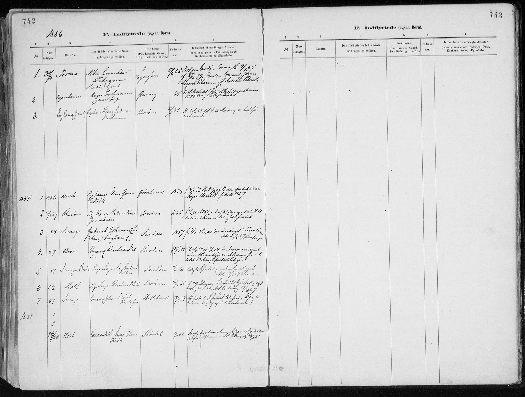 SAK, Dypvåg sokneprestkontor, F/Fa/Faa/L0008: Ministerialbok nr. A 8, 1885-1906, s. 742-743