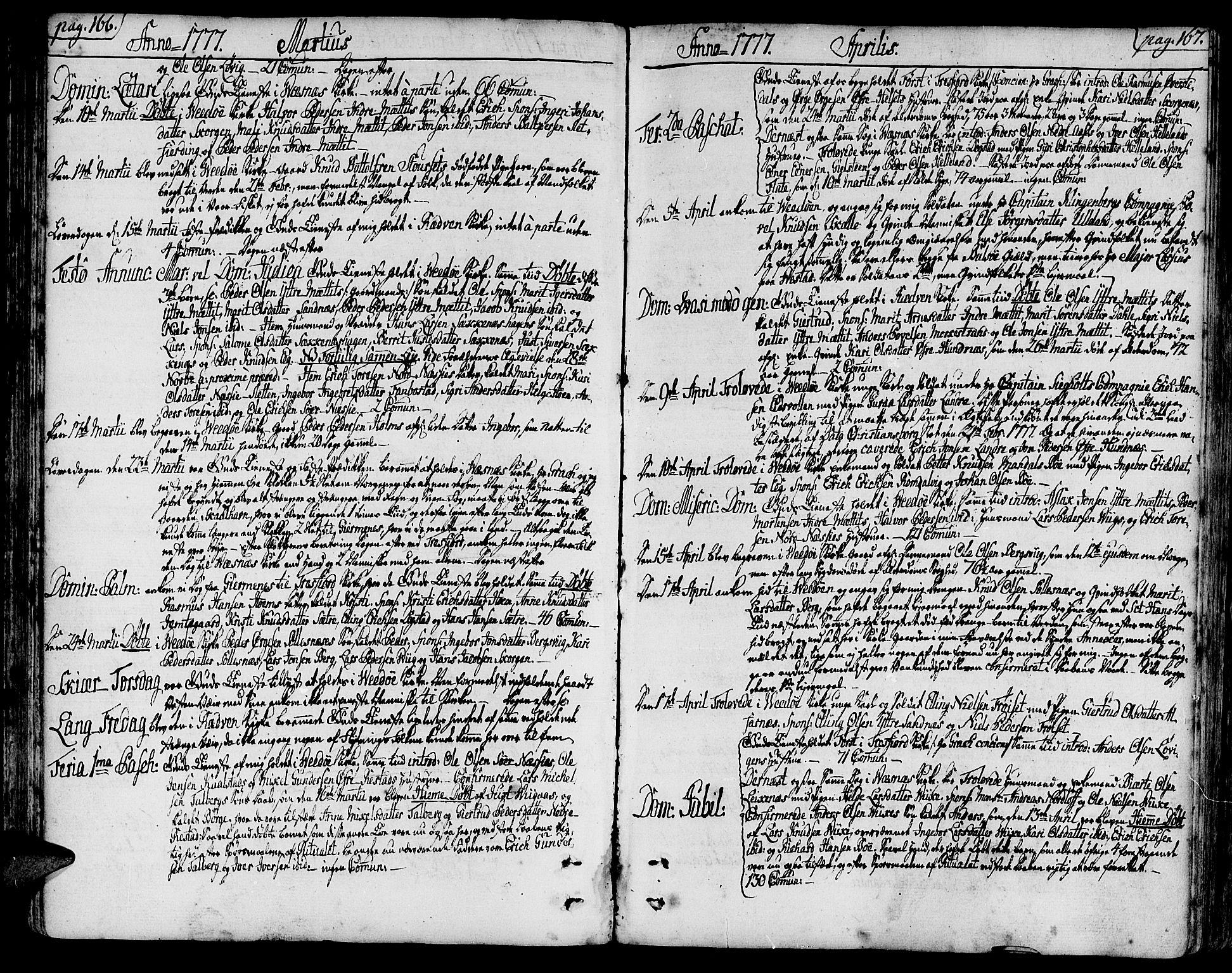 SAT, Ministerialprotokoller, klokkerbøker og fødselsregistre - Møre og Romsdal, 547/L0600: Ministerialbok nr. 547A02, 1765-1799, s. 166-167