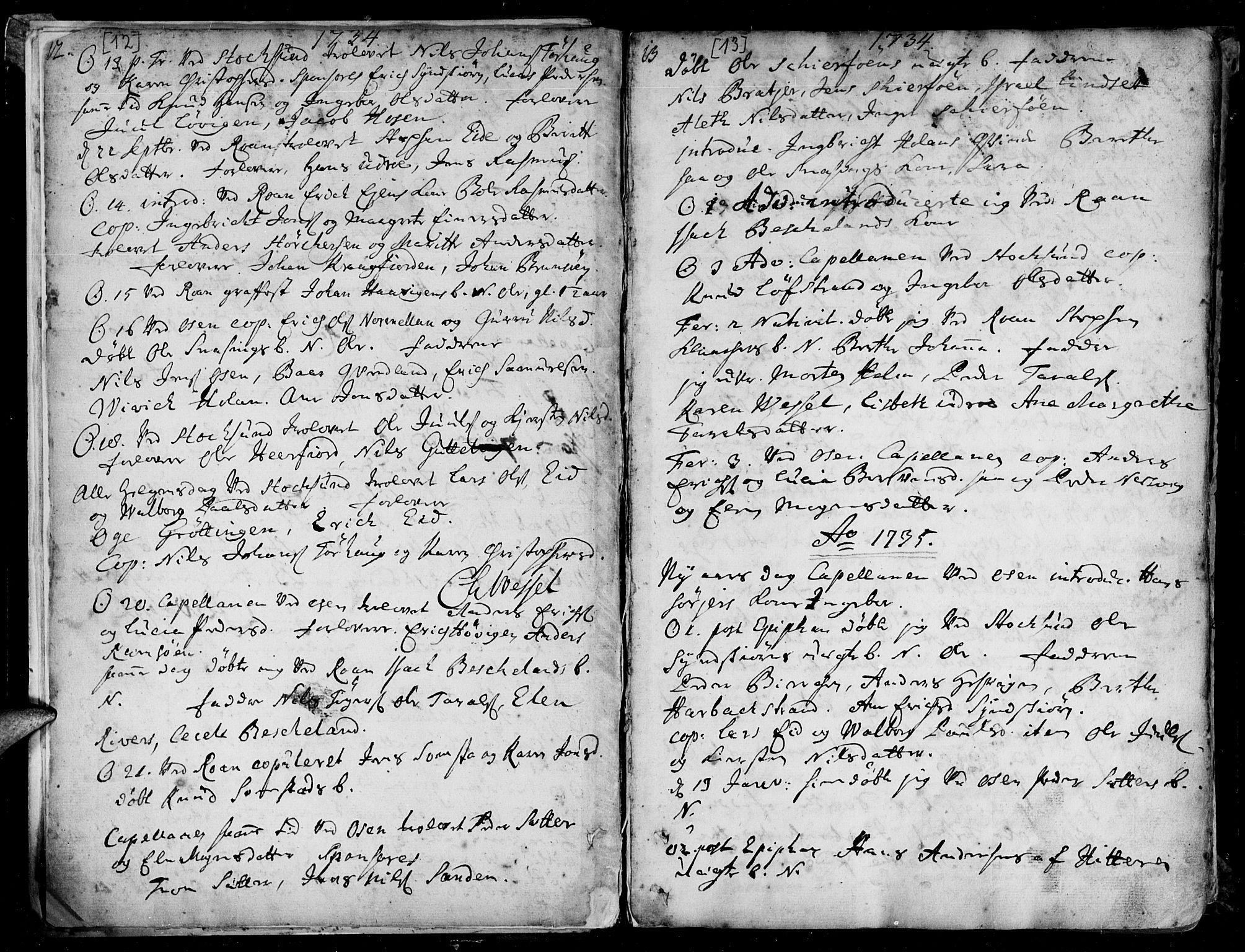SAT, Ministerialprotokoller, klokkerbøker og fødselsregistre - Sør-Trøndelag, 657/L0700: Ministerialbok nr. 657A01, 1732-1801, s. 12-13