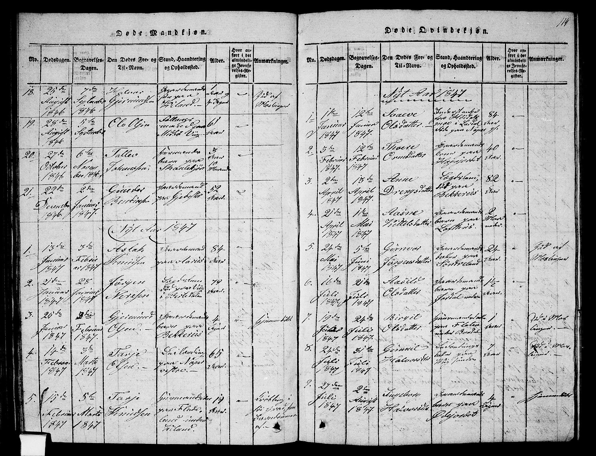 SAKO, Fyresdal kirkebøker, G/Ga/L0002: Klokkerbok nr. I 2, 1815-1857, s. 114