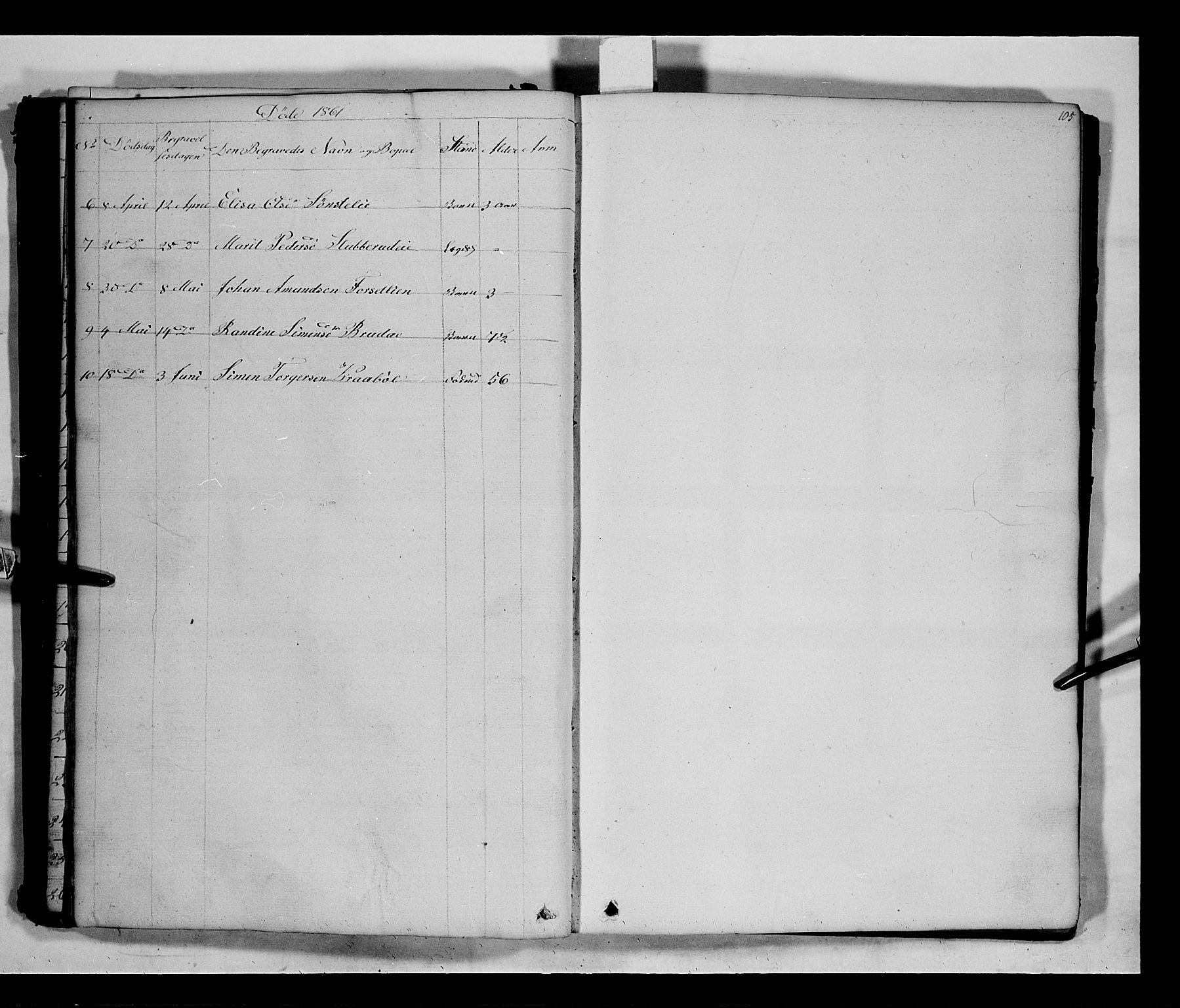 SAH, Gausdal prestekontor, Klokkerbok nr. 5, 1846-1867, s. 105