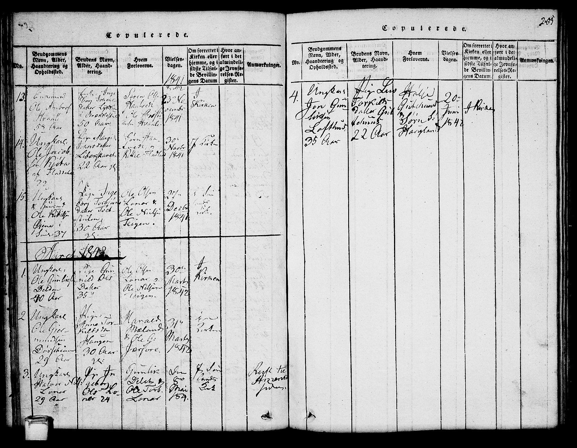 SAKO, Hjartdal kirkebøker, G/Ga/L0001: Klokkerbok nr. I 1, 1815-1842, s. 205
