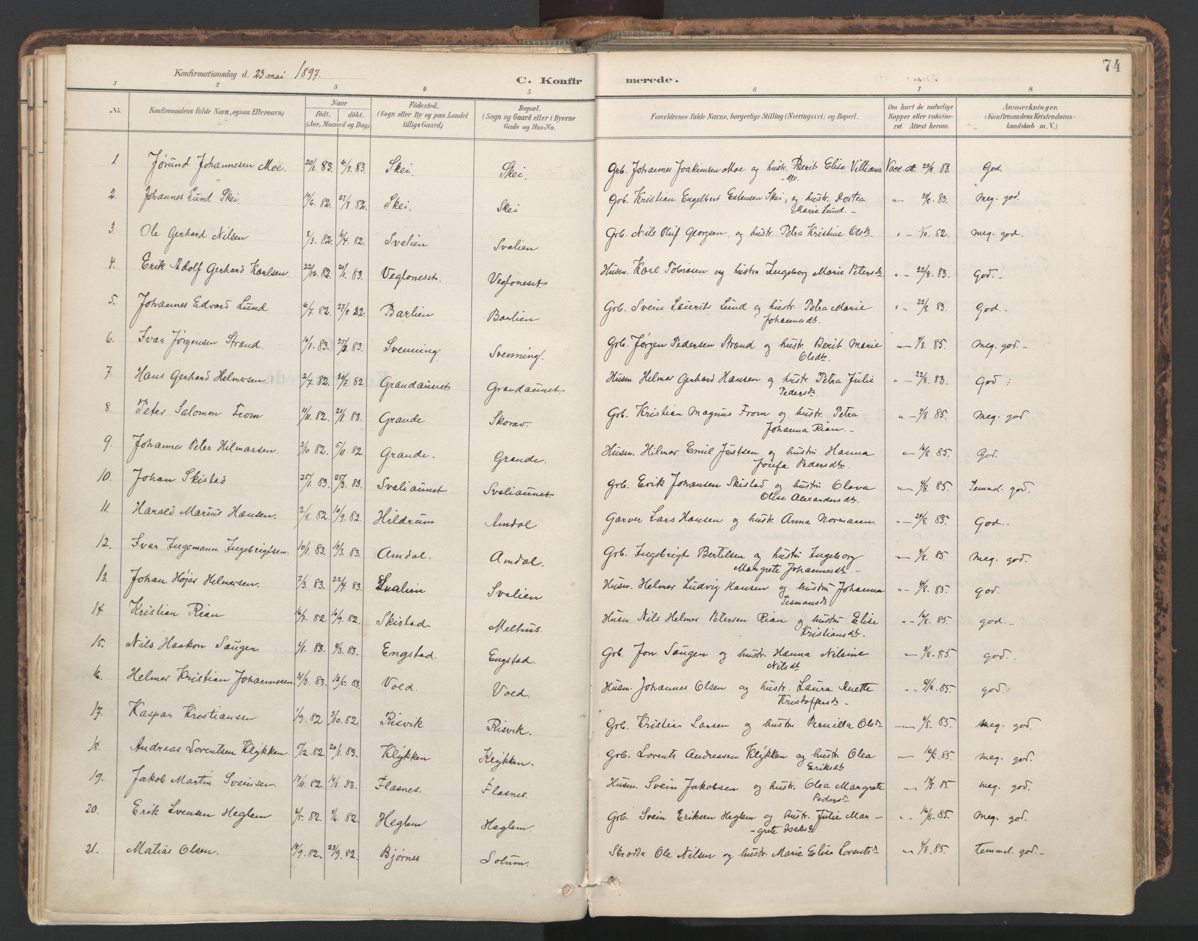 SAT, Ministerialprotokoller, klokkerbøker og fødselsregistre - Nord-Trøndelag, 764/L0556: Ministerialbok nr. 764A11, 1897-1924, s. 74