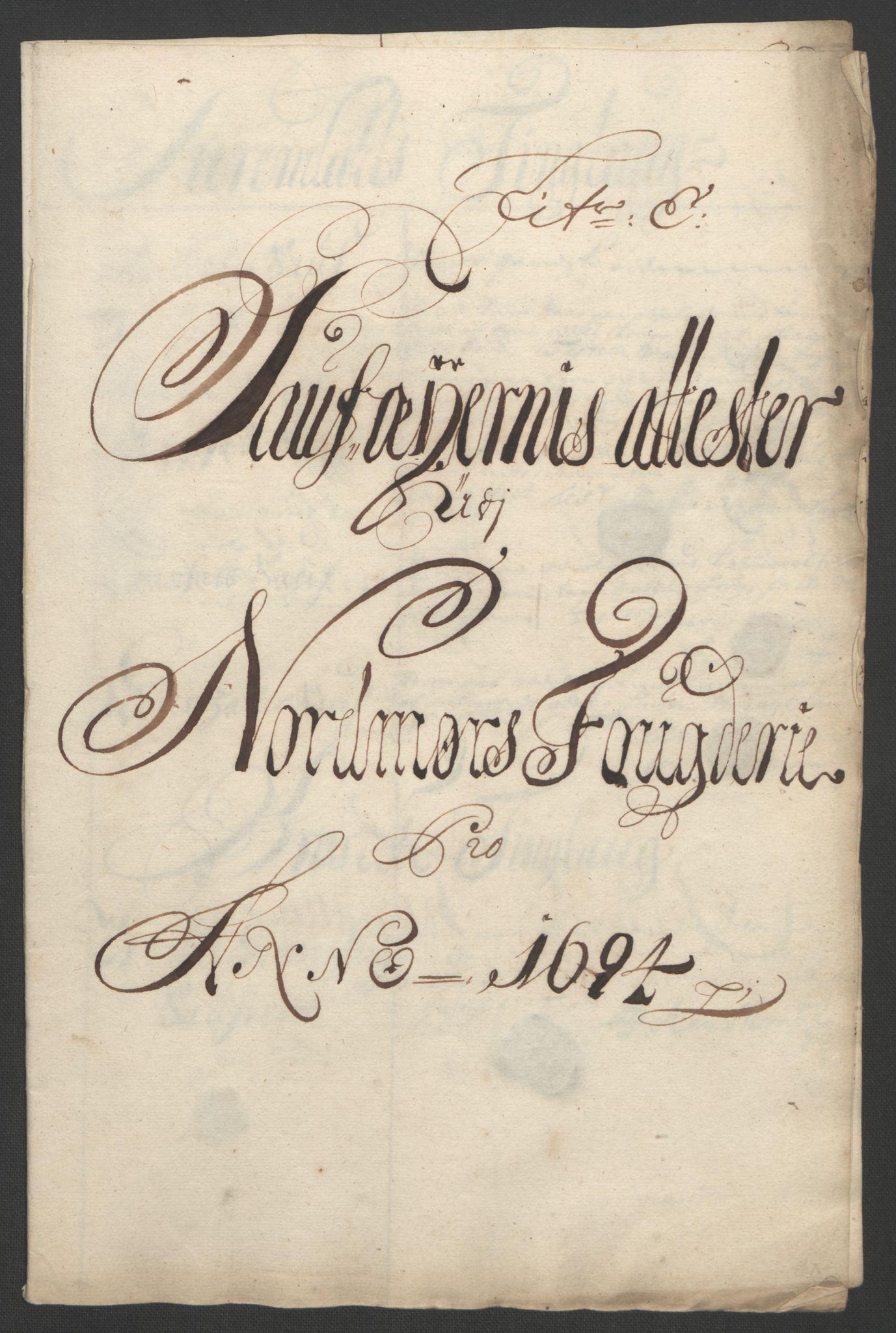 RA, Rentekammeret inntil 1814, Reviderte regnskaper, Fogderegnskap, R56/L3736: Fogderegnskap Nordmøre, 1694-1696, s. 86