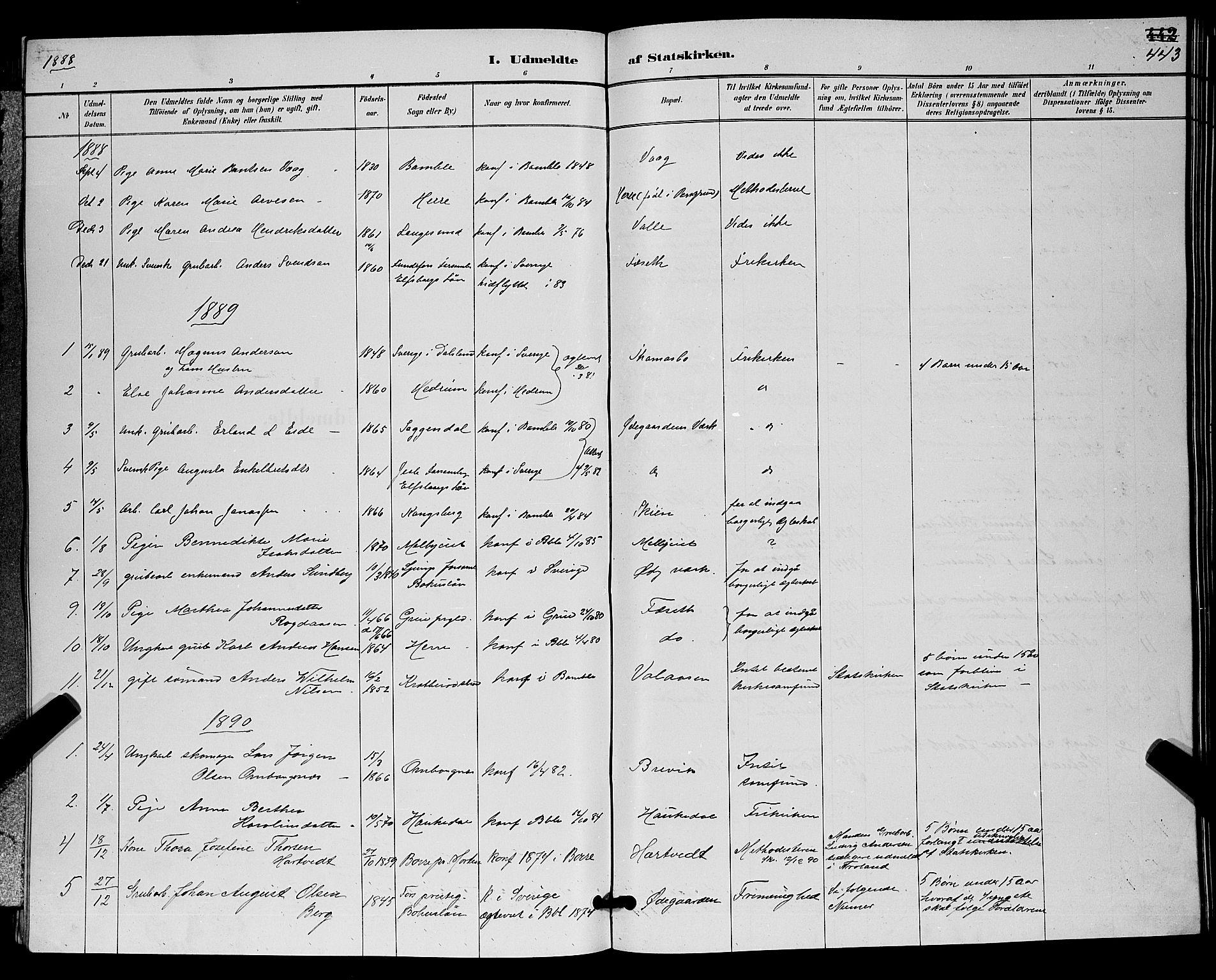 SAKO, Bamble kirkebøker, G/Ga/L0009: Klokkerbok nr. I 9, 1888-1900, s. 443