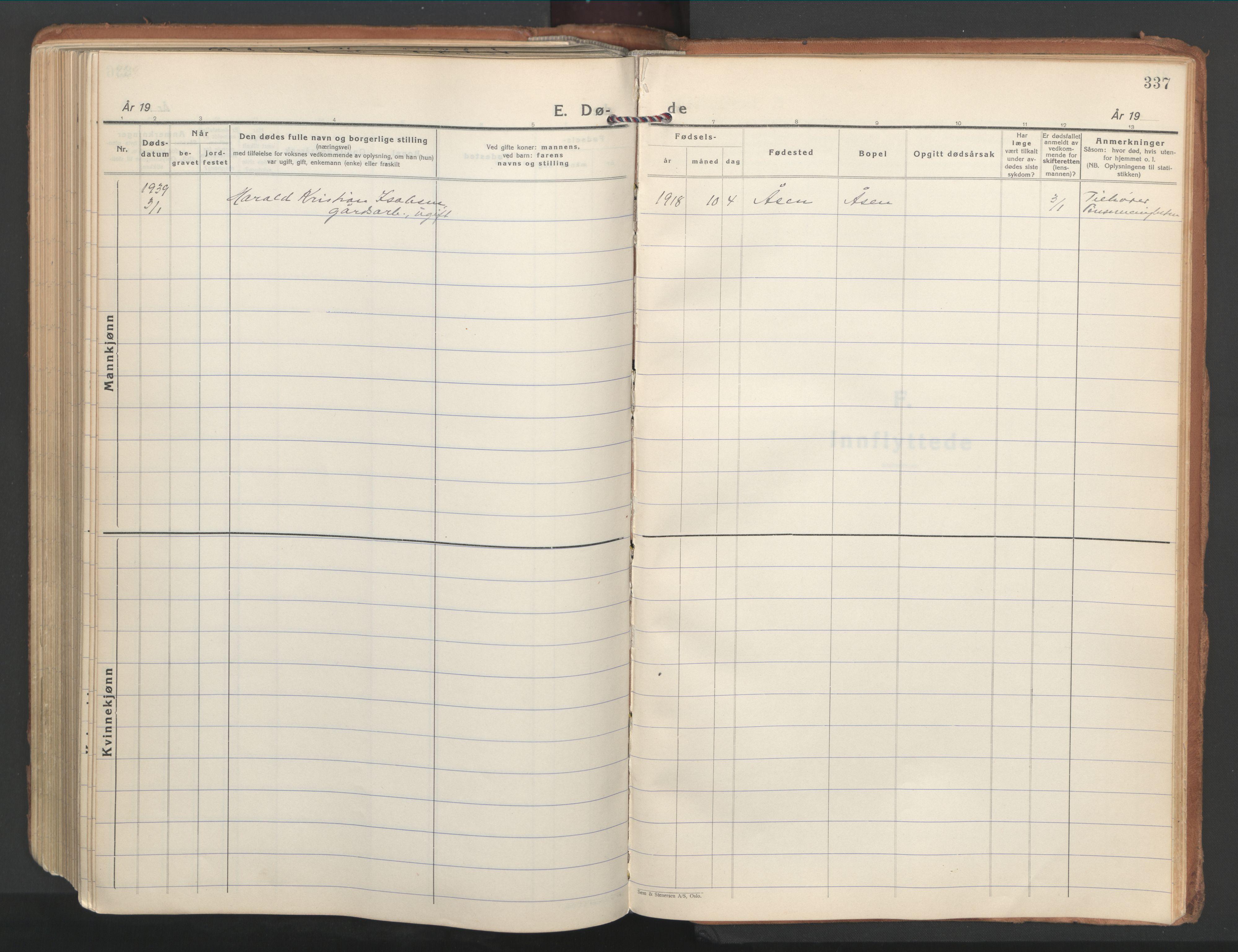 SAT, Ministerialprotokoller, klokkerbøker og fødselsregistre - Nordland, 802/L0061: Ministerialbok nr. 802A08, 1933-1946, s. 337