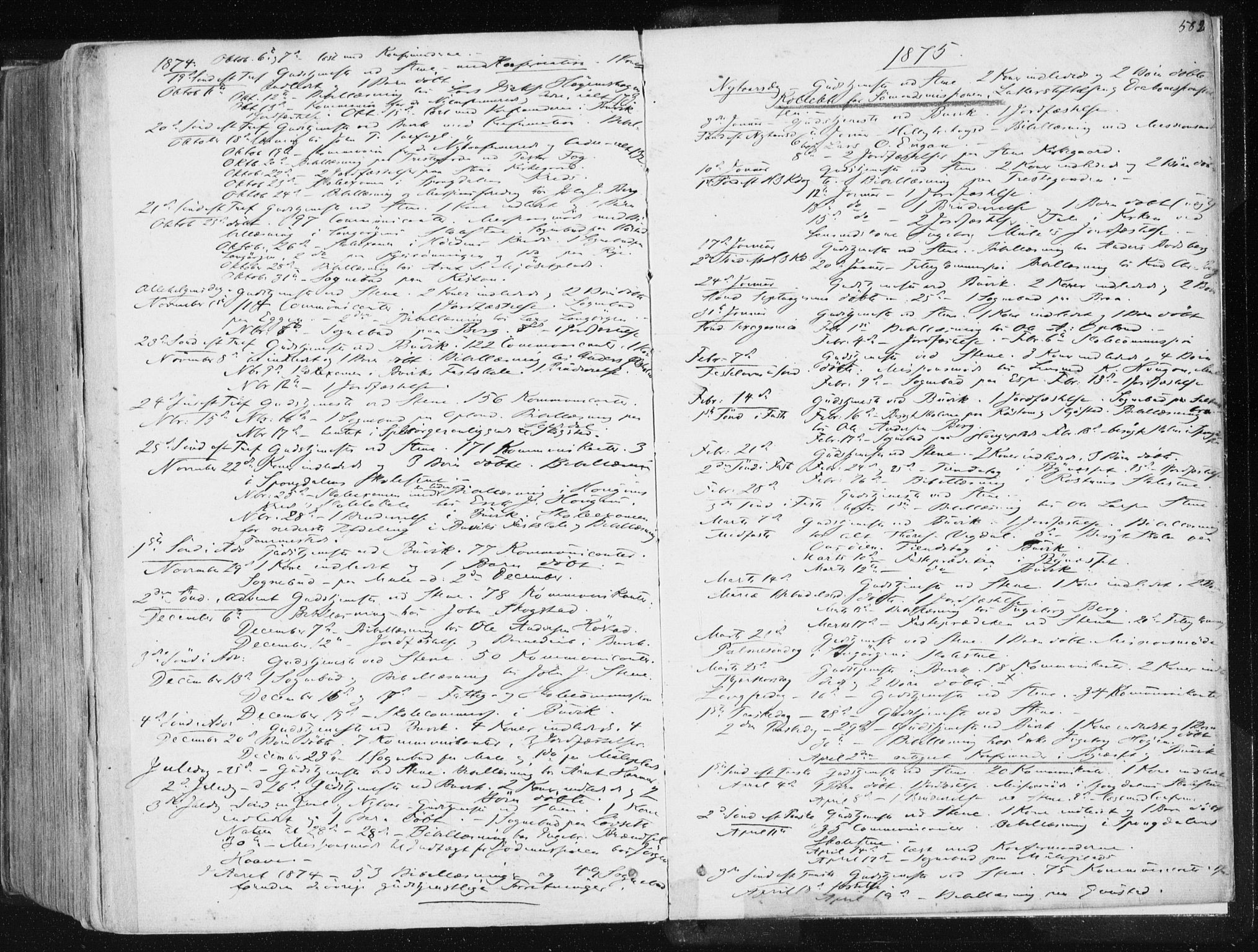 SAT, Ministerialprotokoller, klokkerbøker og fødselsregistre - Sør-Trøndelag, 612/L0377: Ministerialbok nr. 612A09, 1859-1877, s. 582
