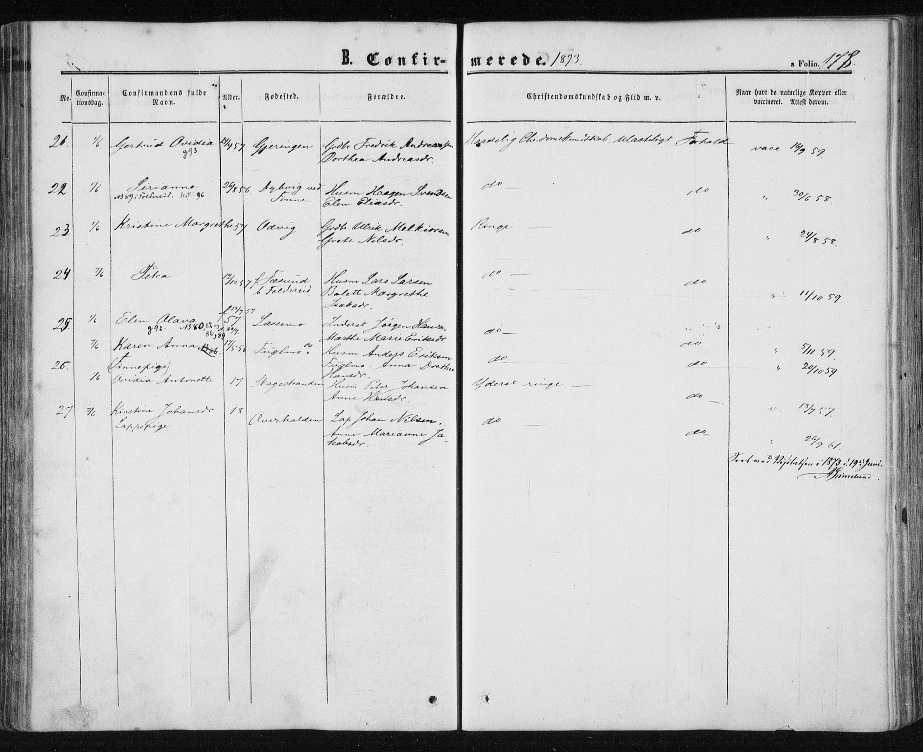 SAT, Ministerialprotokoller, klokkerbøker og fødselsregistre - Nord-Trøndelag, 780/L0641: Ministerialbok nr. 780A06, 1857-1874, s. 178