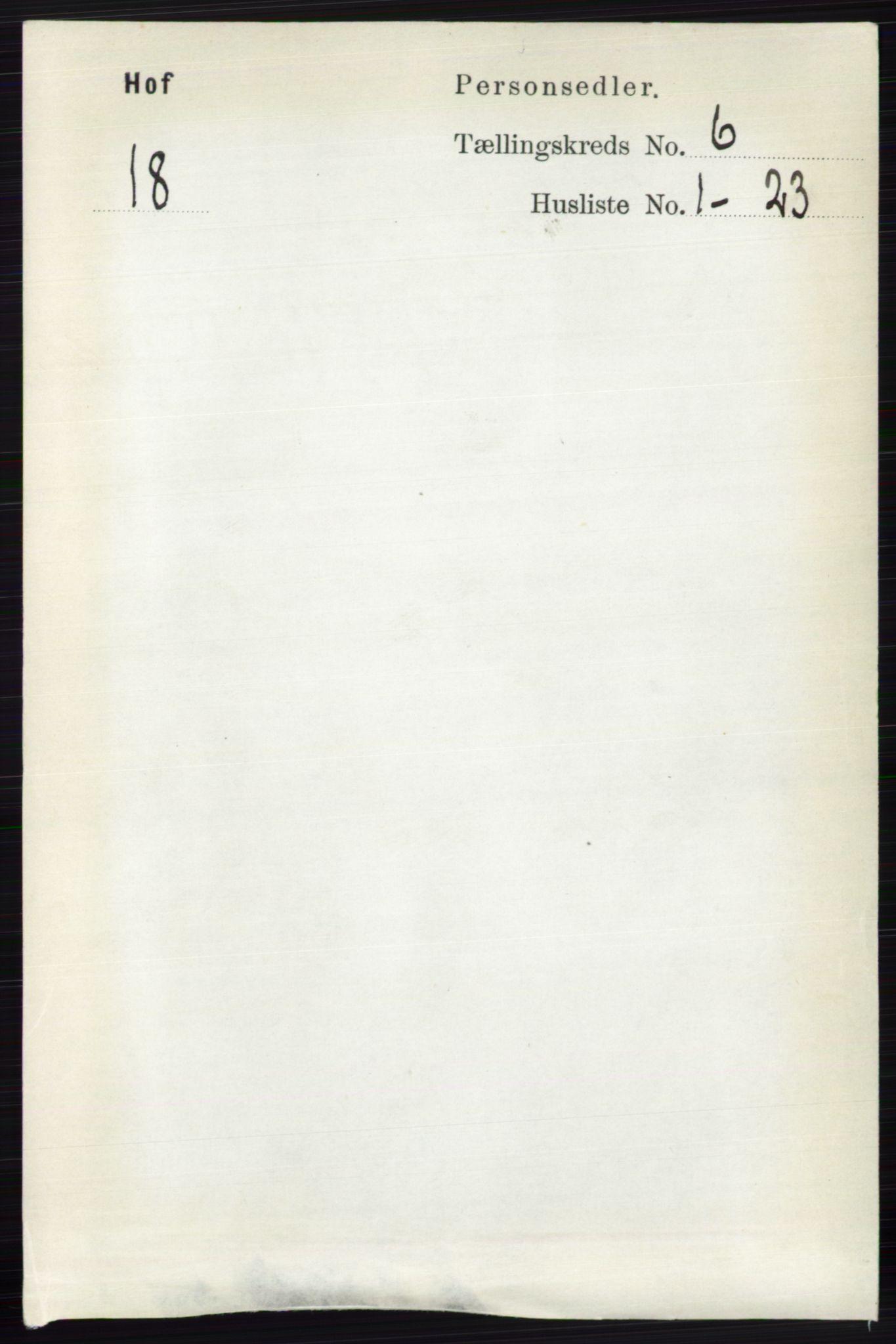RA, Folketelling 1891 for 0424 Hof herred, 1891, s. 2249