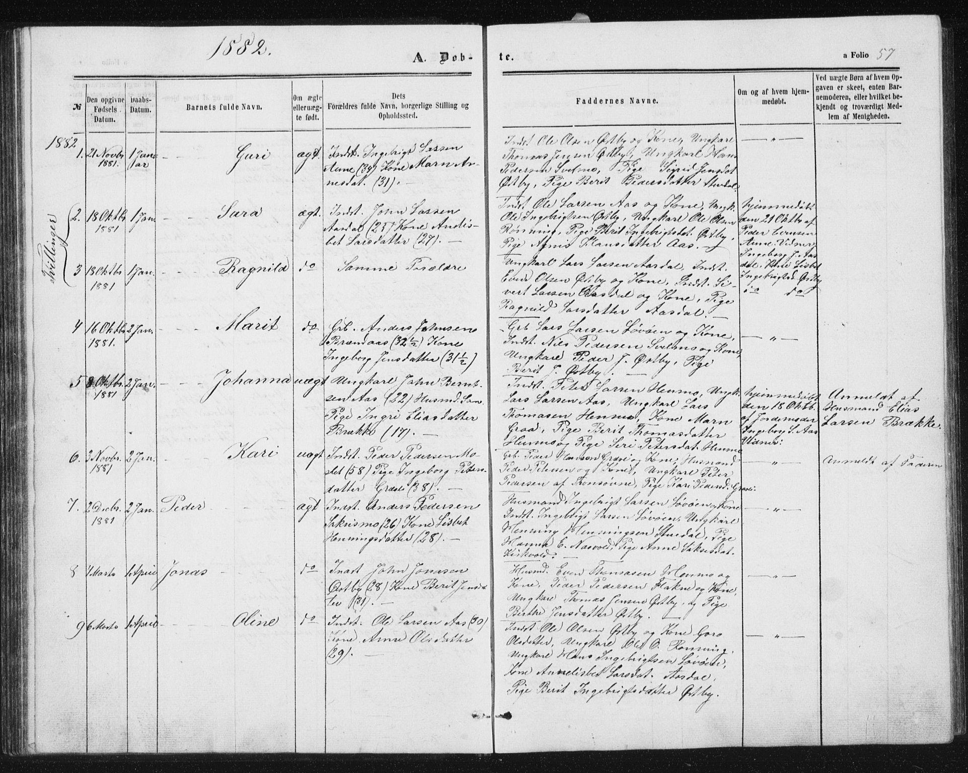 SAT, Ministerialprotokoller, klokkerbøker og fødselsregistre - Sør-Trøndelag, 698/L1166: Klokkerbok nr. 698C03, 1861-1887, s. 57
