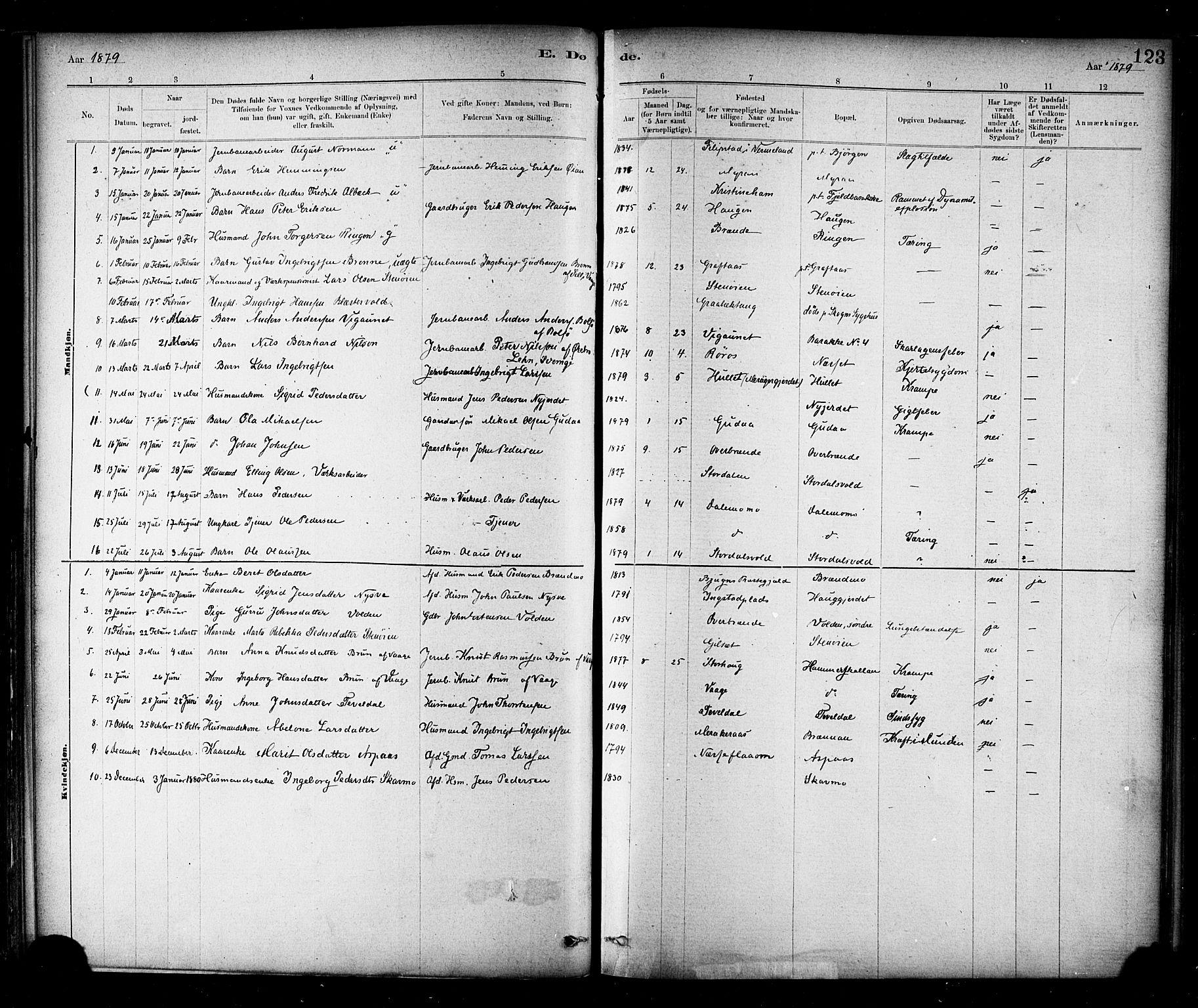 SAT, Ministerialprotokoller, klokkerbøker og fødselsregistre - Nord-Trøndelag, 706/L0047: Ministerialbok nr. 706A03, 1878-1892, s. 123