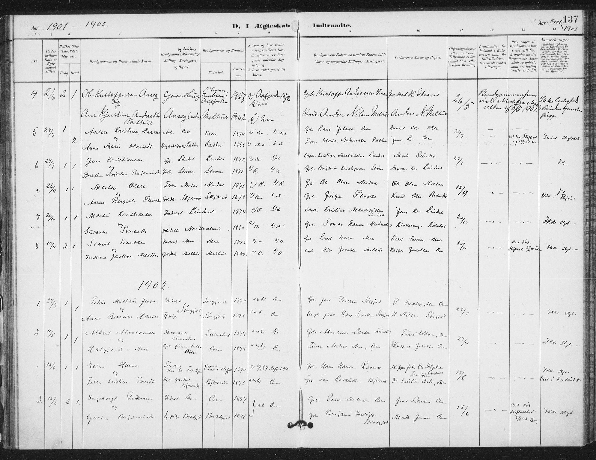 SAT, Ministerialprotokoller, klokkerbøker og fødselsregistre - Sør-Trøndelag, 658/L0723: Ministerialbok nr. 658A02, 1897-1912, s. 137