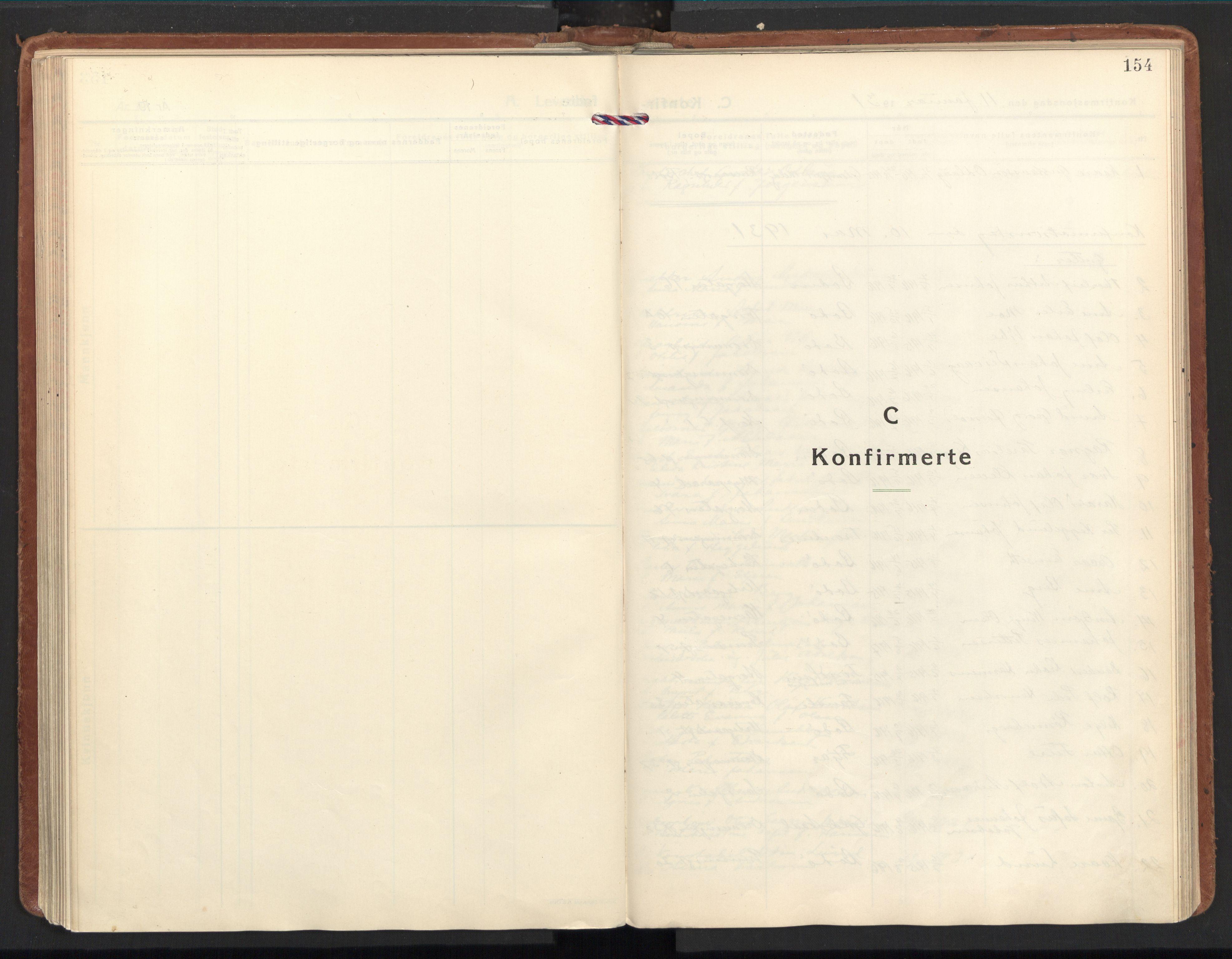 SAT, Ministerialprotokoller, klokkerbøker og fødselsregistre - Nordland, 801/L0019: Ministerialbok nr. 801A19, 1930-1940, s. 154