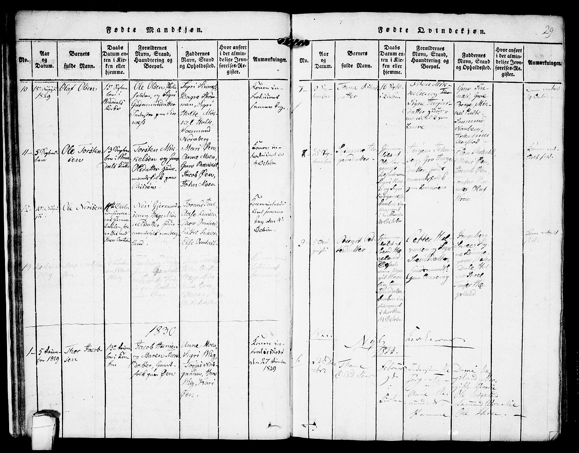 SAKO, Kviteseid kirkebøker, F/Fc/L0001: Ministerialbok nr. III 1, 1815-1836, s. 29