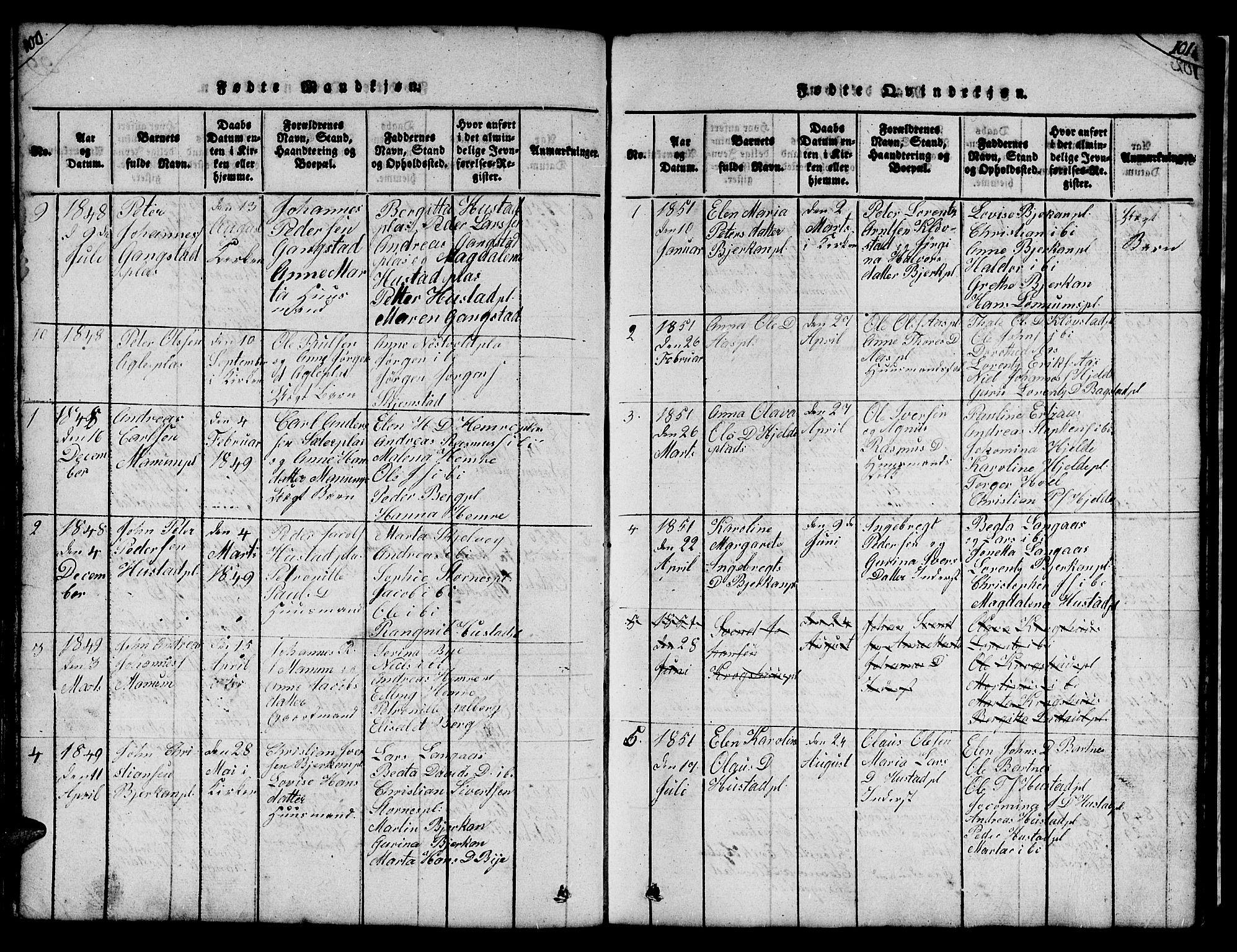 SAT, Ministerialprotokoller, klokkerbøker og fødselsregistre - Nord-Trøndelag, 732/L0317: Klokkerbok nr. 732C01, 1816-1881, s. 100-101