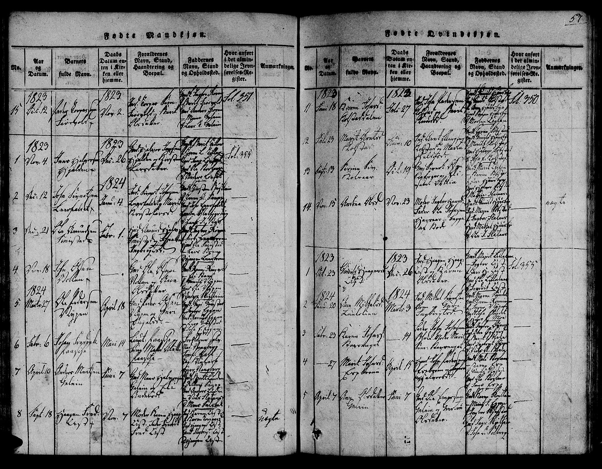 SAT, Ministerialprotokoller, klokkerbøker og fødselsregistre - Sør-Trøndelag, 691/L1067: Ministerialbok nr. 691A03 /3, 1816-1826, s. 57