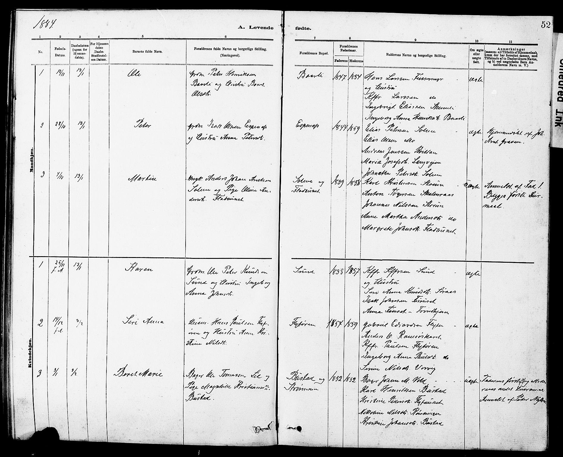 SAT, Ministerialprotokoller, klokkerbøker og fødselsregistre - Sør-Trøndelag, 647/L0636: Klokkerbok nr. 647C01, 1881-1884, s. 52