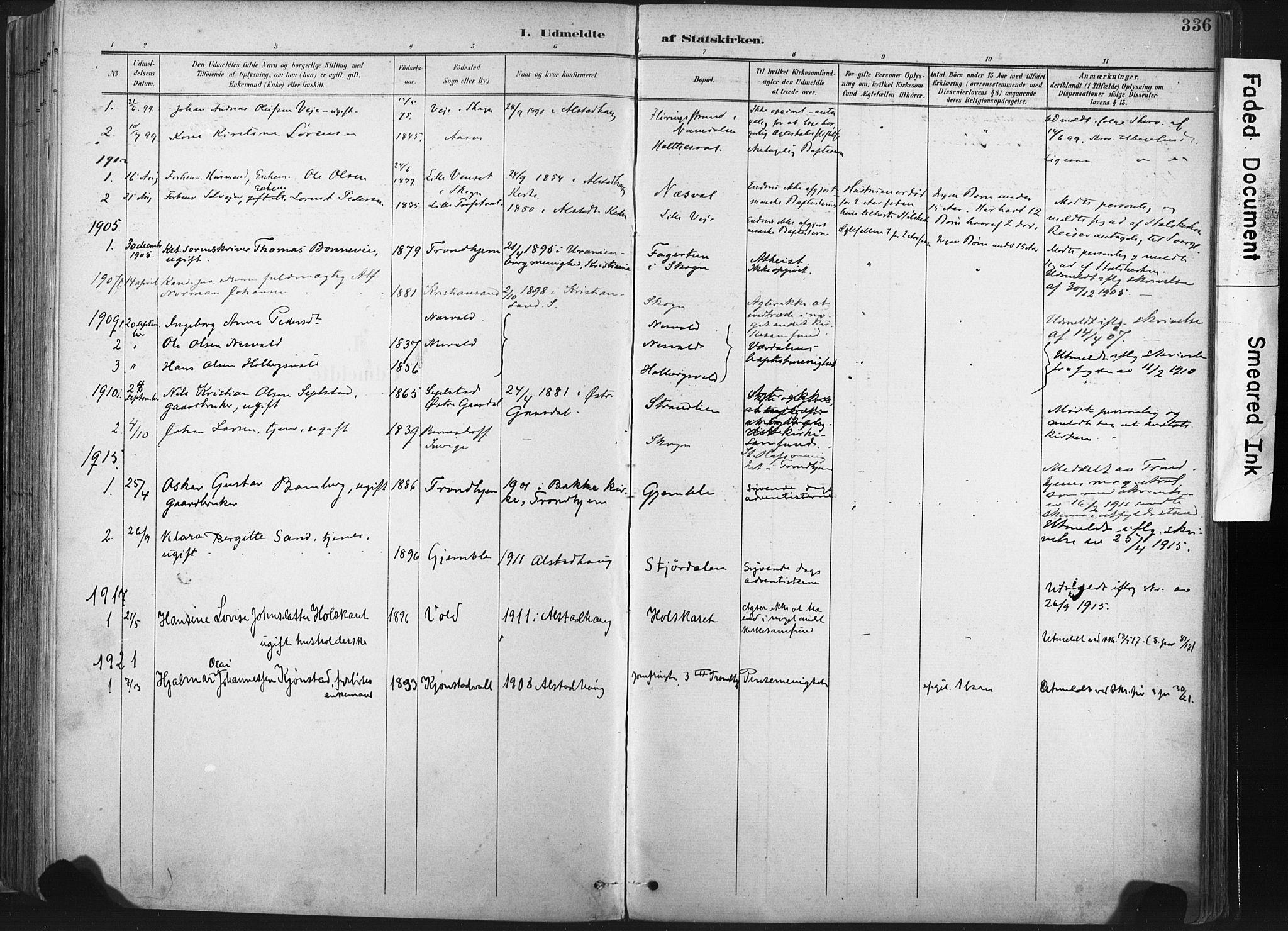 SAT, Ministerialprotokoller, klokkerbøker og fødselsregistre - Nord-Trøndelag, 717/L0162: Ministerialbok nr. 717A12, 1898-1923, s. 336
