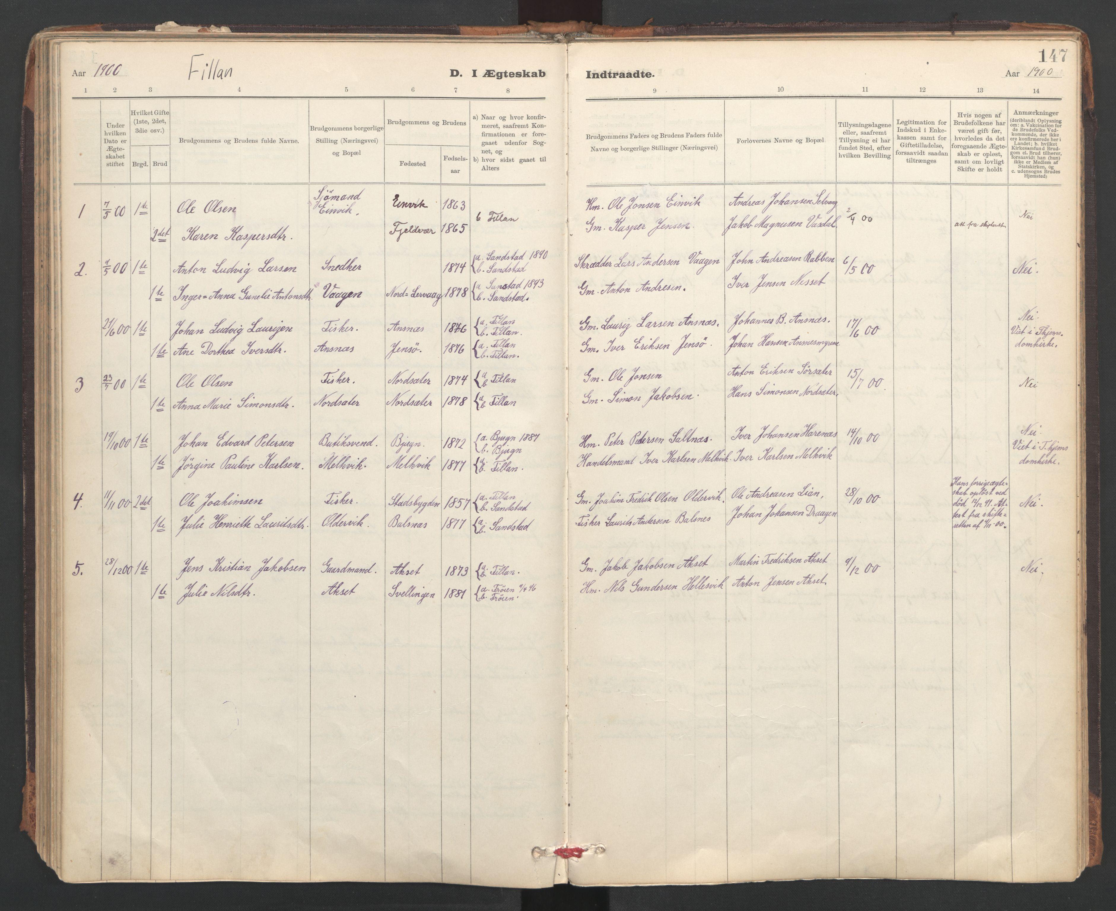 SAT, Ministerialprotokoller, klokkerbøker og fødselsregistre - Sør-Trøndelag, 637/L0559: Ministerialbok nr. 637A02, 1899-1923, s. 147