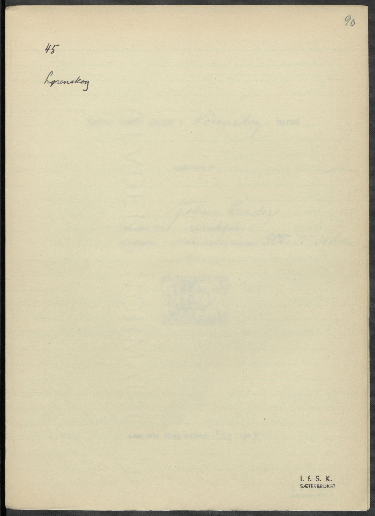 RA, Instituttet for sammenlignende kulturforskning, F/Fc/L0002: Eske B2:, 1932-1936, s. 90
