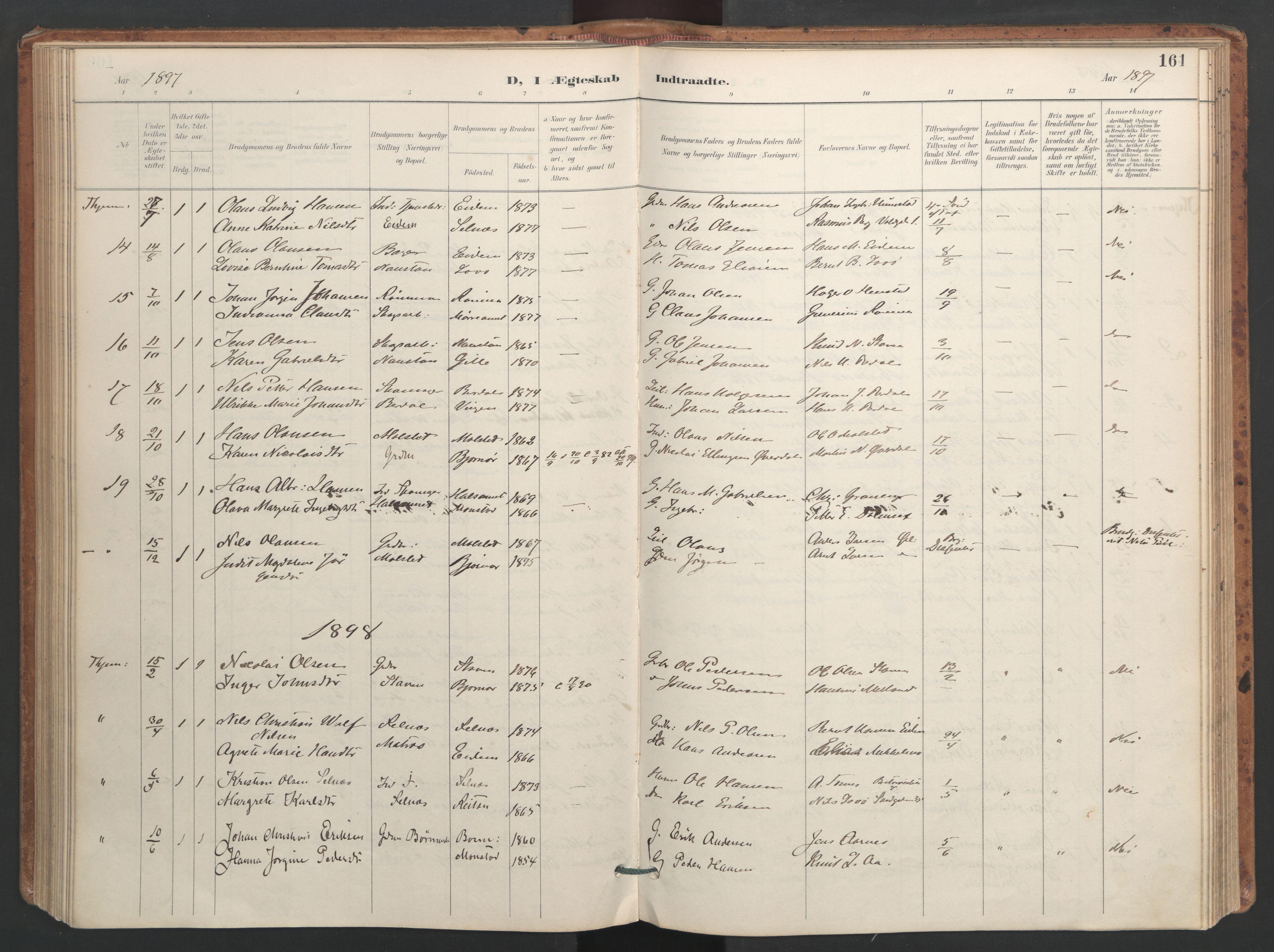 SAT, Ministerialprotokoller, klokkerbøker og fødselsregistre - Sør-Trøndelag, 655/L0681: Ministerialbok nr. 655A10, 1895-1907, s. 161