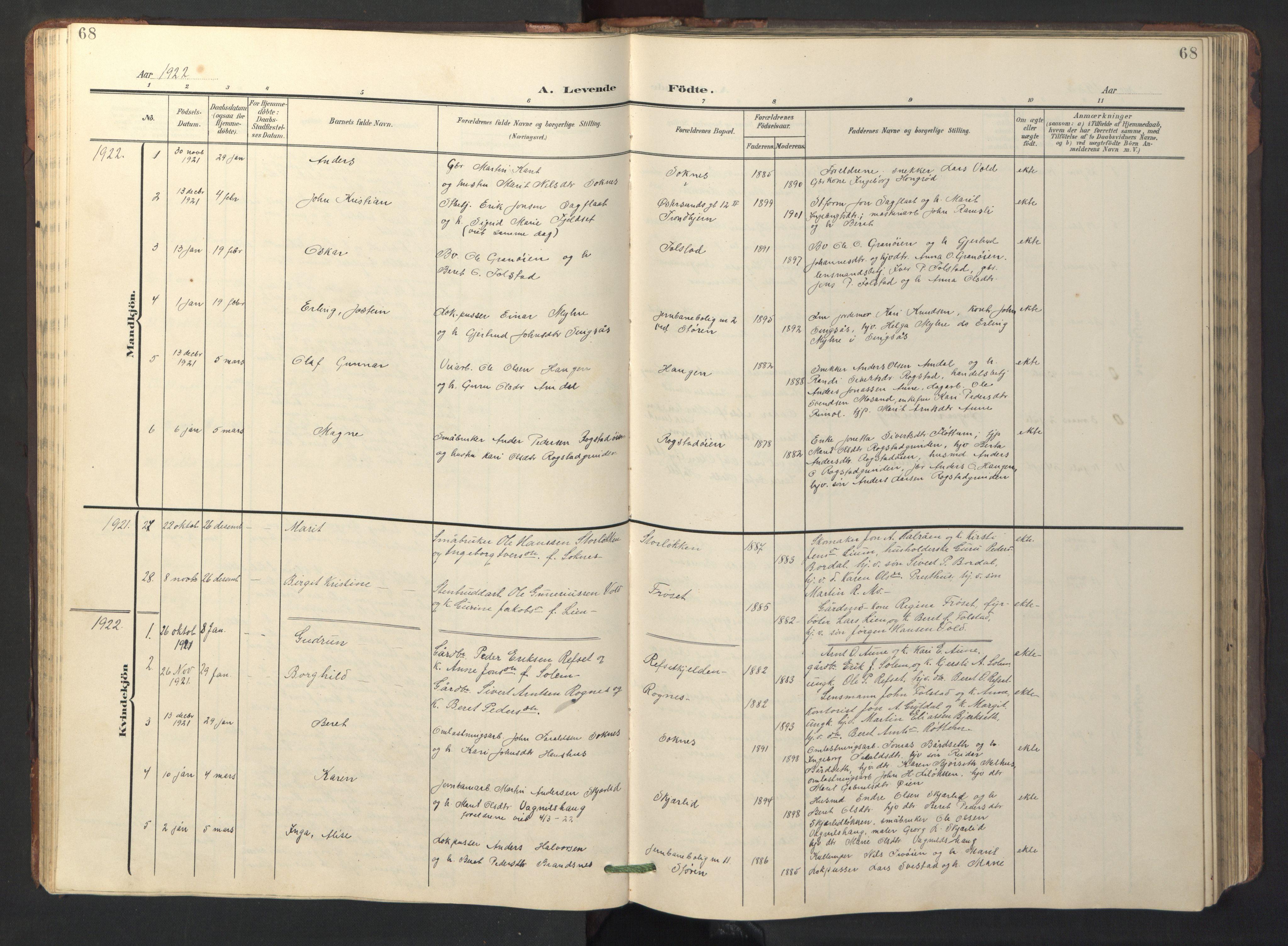 SAT, Ministerialprotokoller, klokkerbøker og fødselsregistre - Sør-Trøndelag, 687/L1019: Klokkerbok nr. 687C03, 1904-1931, s. 68