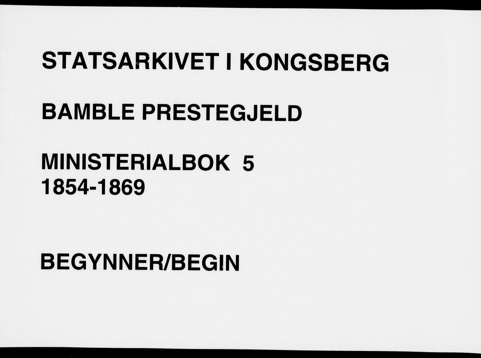 SAKO, Bamble kirkebøker, F/Fa/L0005: Ministerialbok nr. I 5, 1854-1869