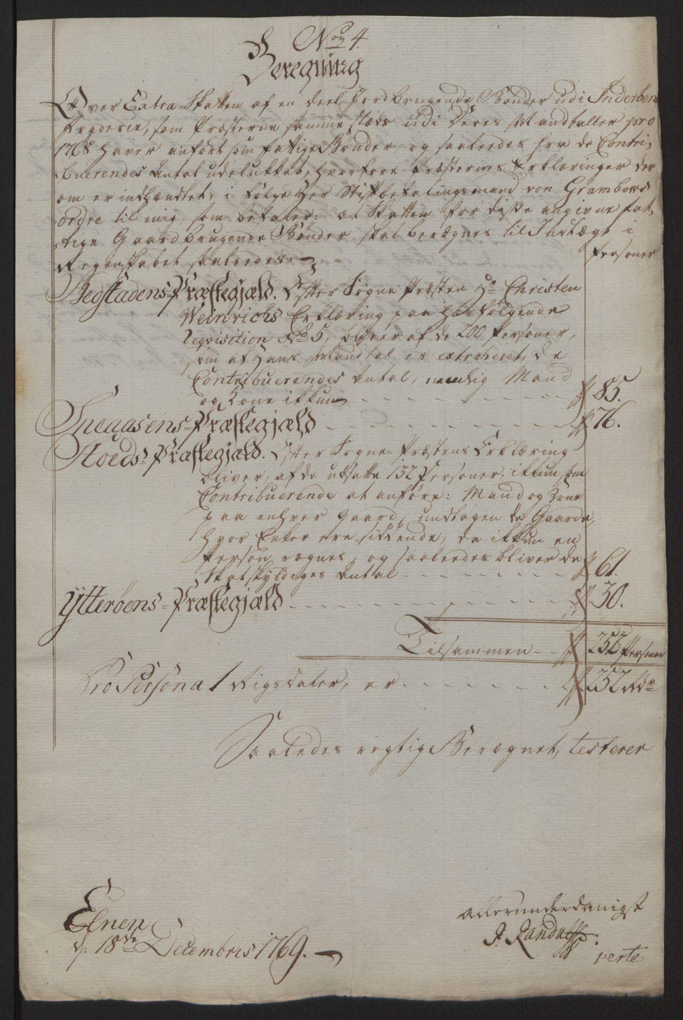 RA, Rentekammeret inntil 1814, Reviderte regnskaper, Fogderegnskap, R63/L4420: Ekstraskatten Inderøy, 1762-1772, s. 259