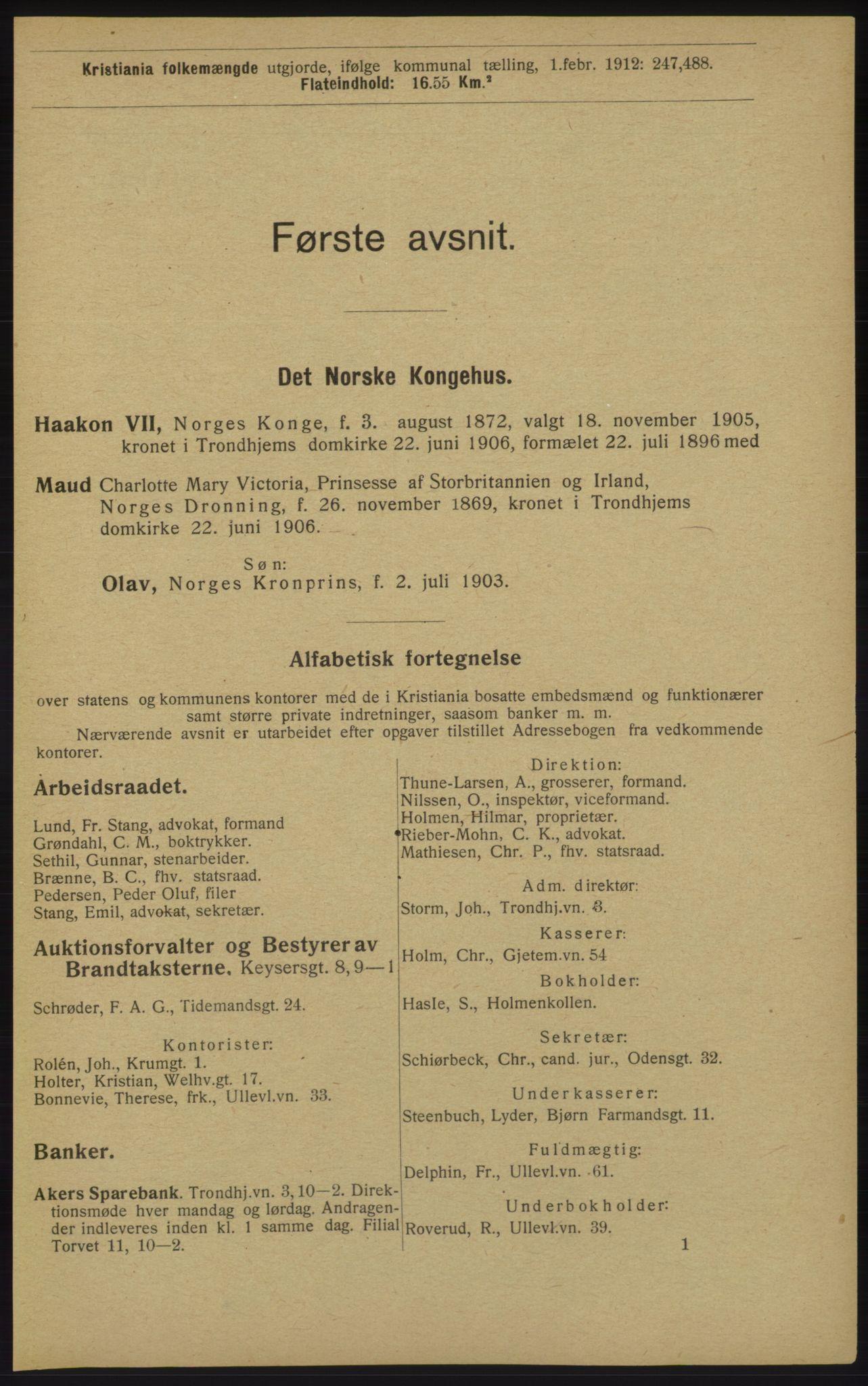 RA, Kristiania adressebok (publikasjon)*, 1913, s. 29