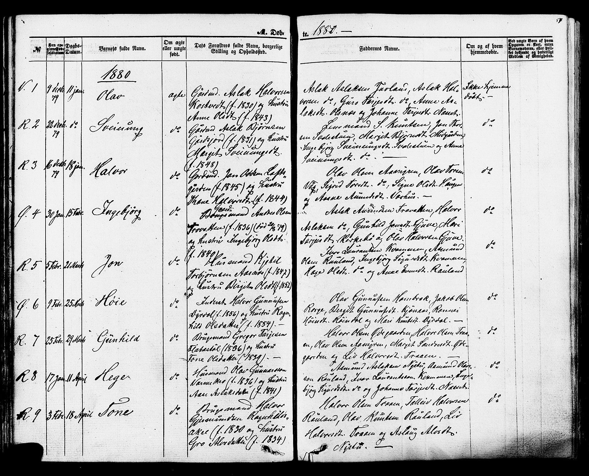 SAKO, Rauland kirkebøker, F/Fa/L0003: Ministerialbok nr. 3, 1859-1886, s. 57