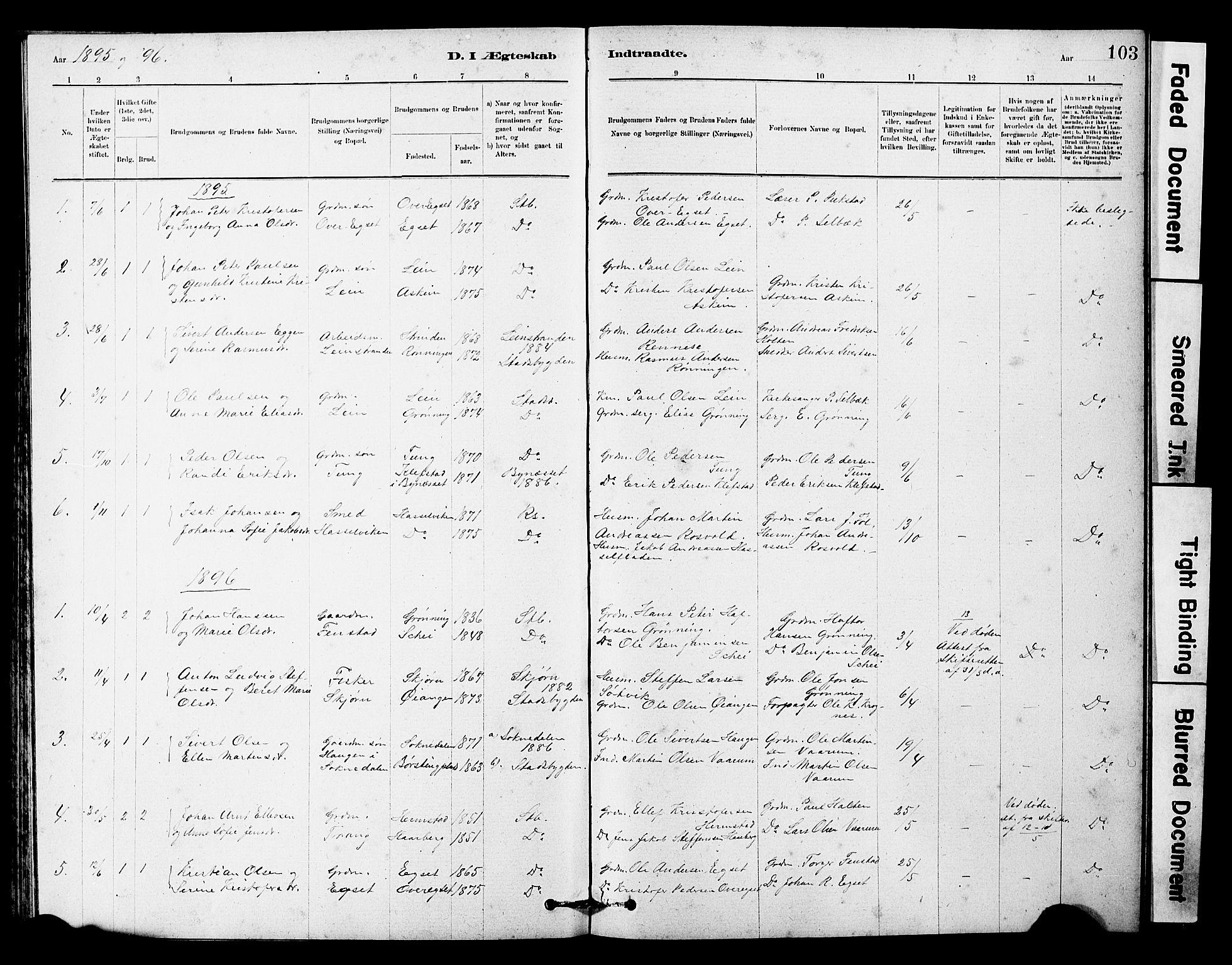 SAT, Ministerialprotokoller, klokkerbøker og fødselsregistre - Sør-Trøndelag, 646/L0628: Klokkerbok nr. 646C01, 1880-1903, s. 103